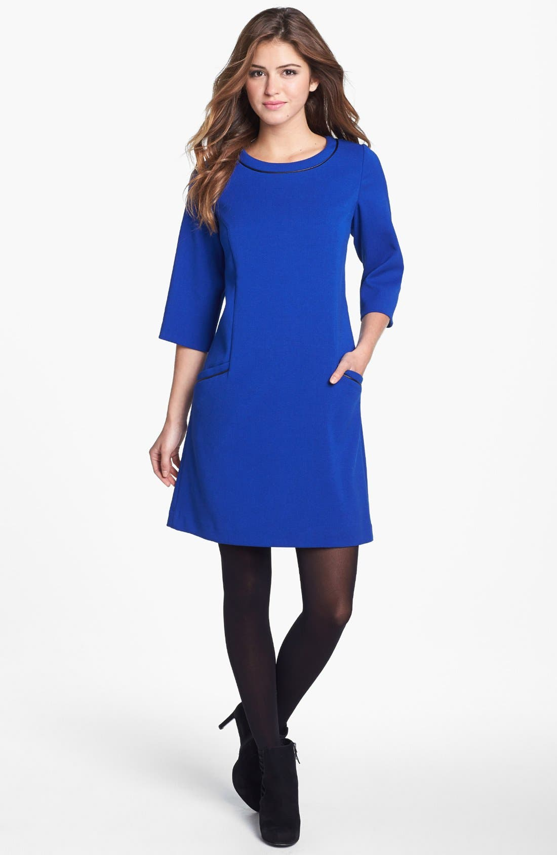 Main Image - Eliza J Faux Leather Trim Ponte Shift Dress (Online Only)