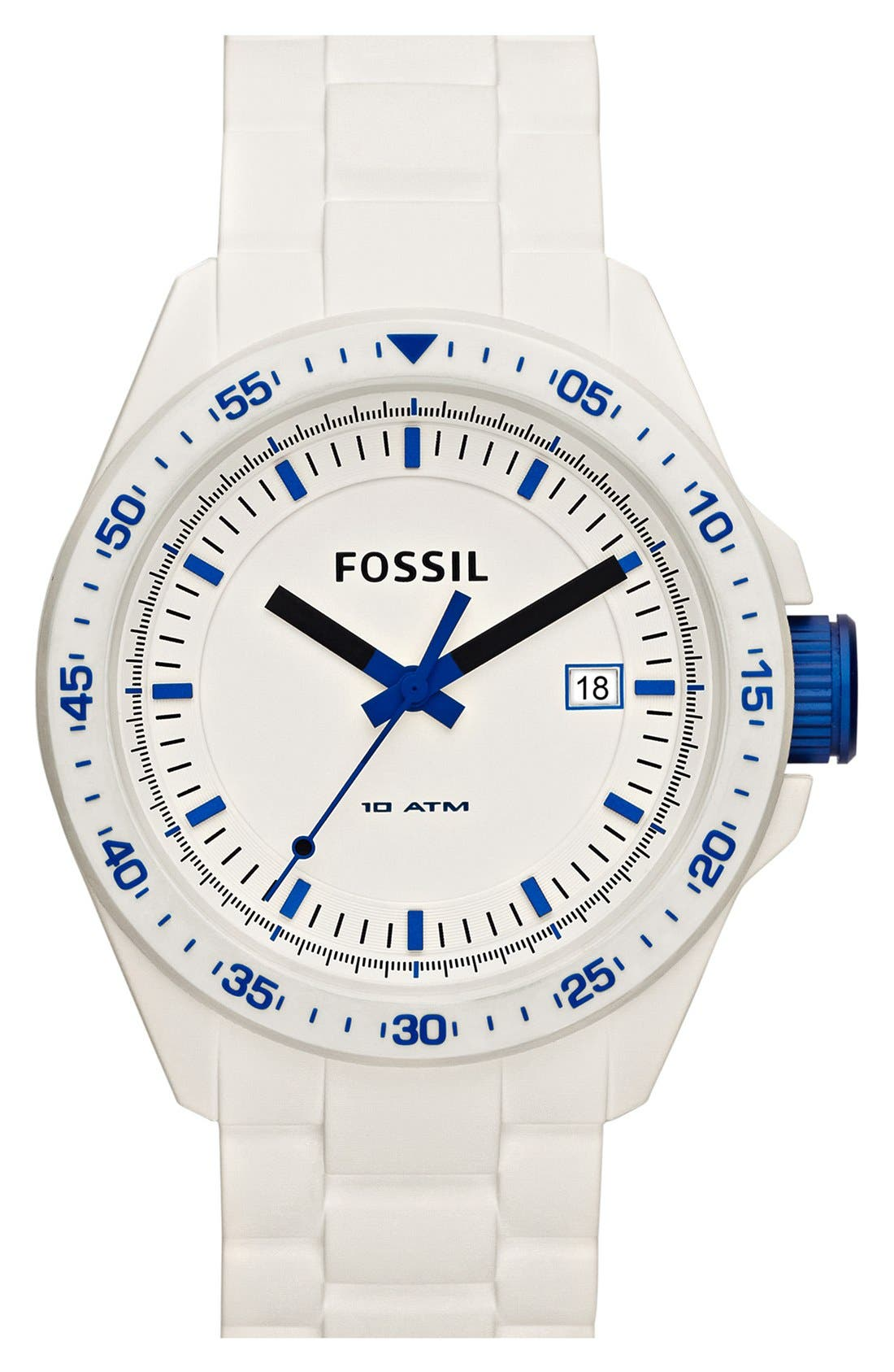 Alternate Image 1 Selected - Fossil 'Decker' Silicone Watch, 45mm