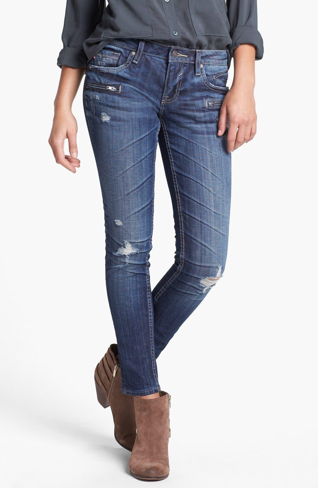 Main Image - Vigoss Zip Pocket Destroyed Skinny Jeans (Medium) (Juniors)