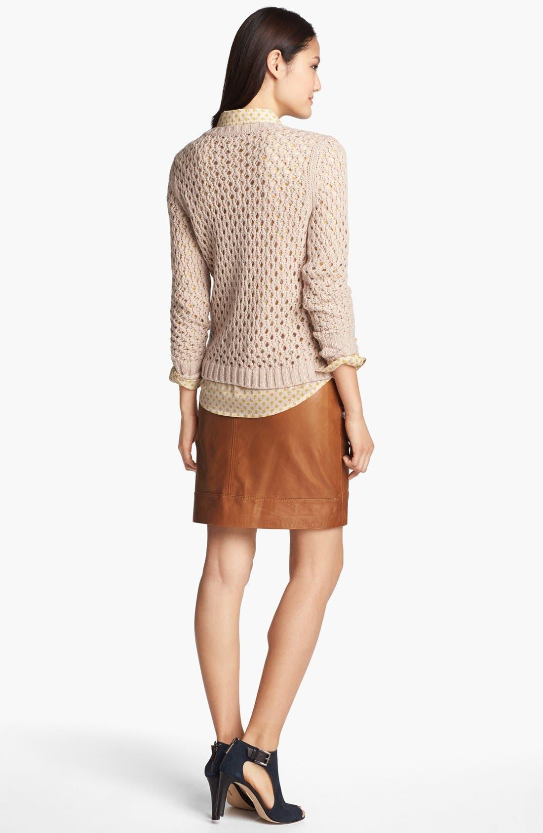 Alternate Image 3  - Halogen® Zip Pocket Leather Skirt