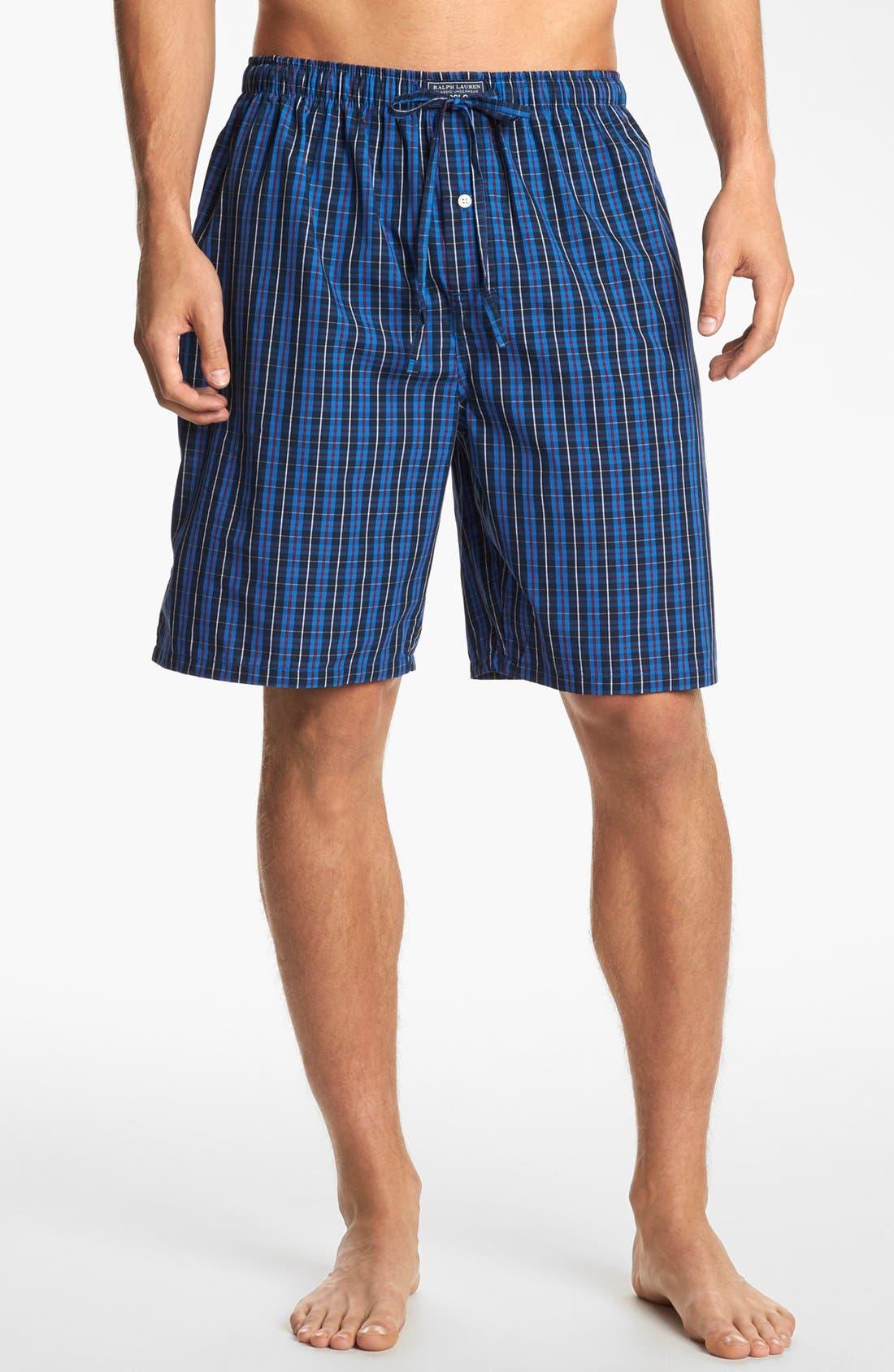 Woven Pajama Shorts,                             Main thumbnail 1, color,                             Harwich Plaid