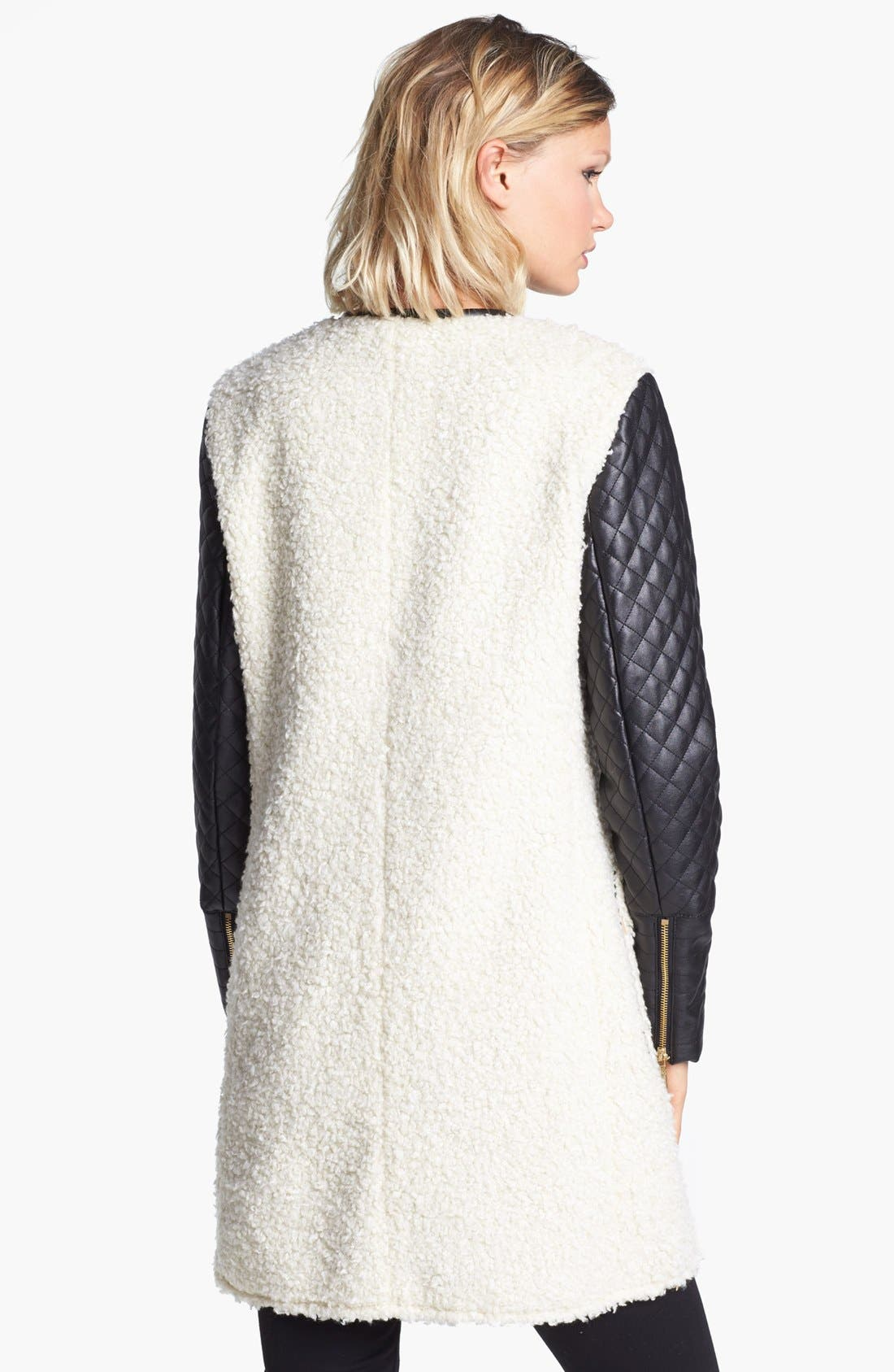 Faux Shearling & Faux Leather Coat,                             Alternate thumbnail 2, color,                             Cream/ Black