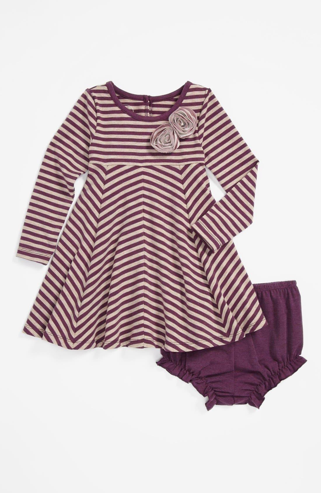 Main Image - Pippa & Julie Stripe Dress & Bloomers (Baby Girls)
