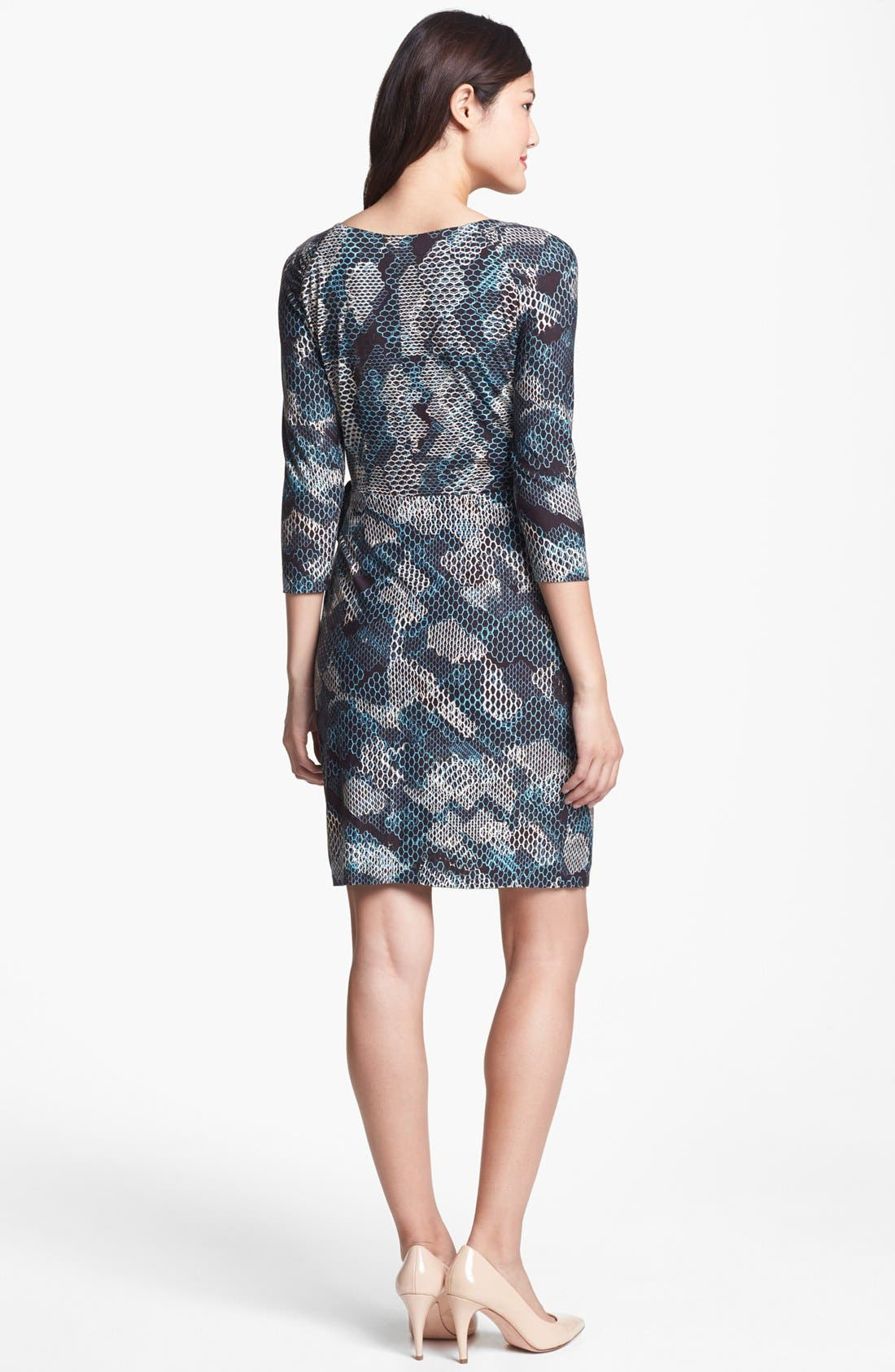 Alternate Image 2  - Ivy & Blu Print Faux Wrap Dress