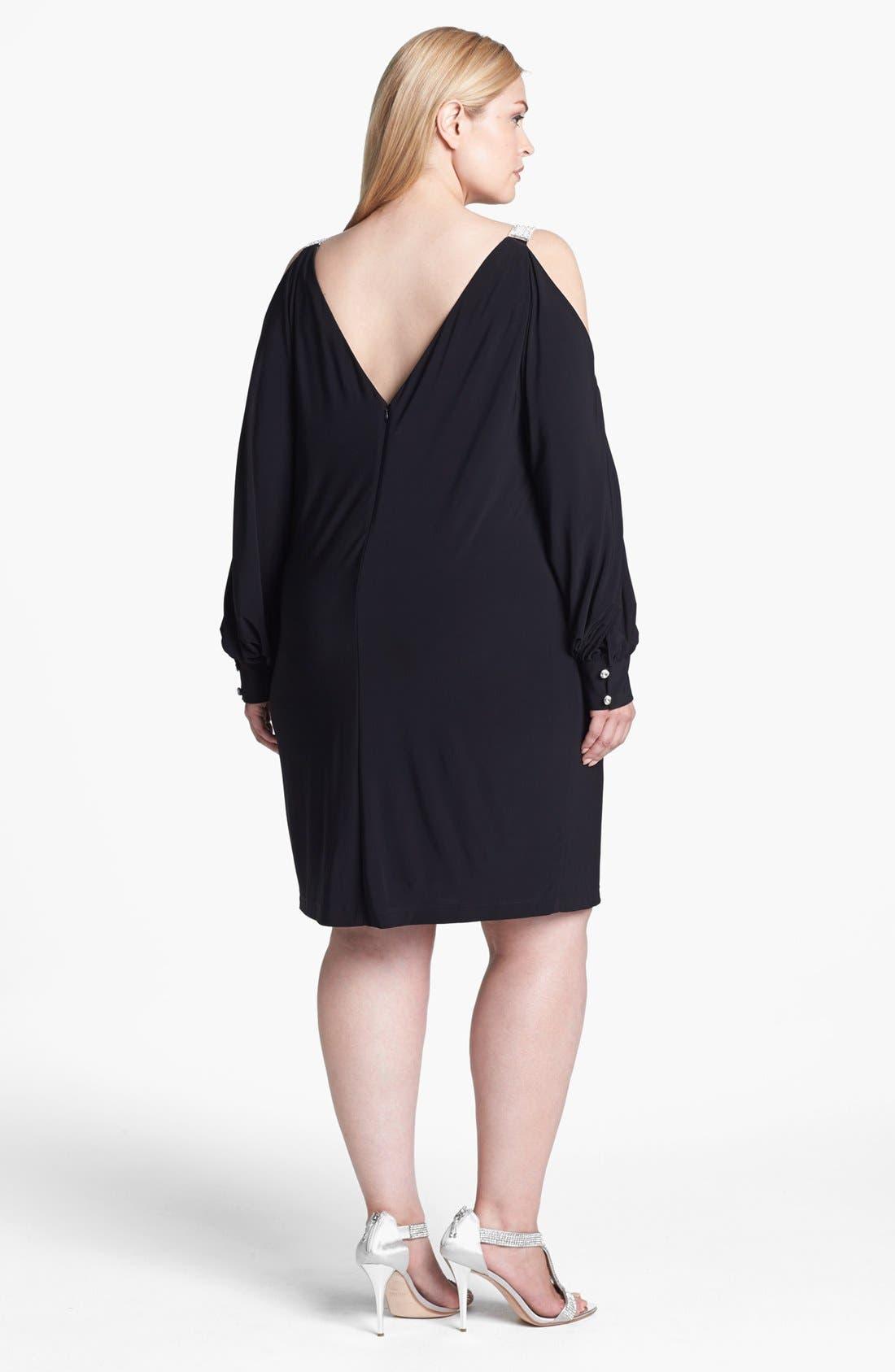 Alternate Image 2  - Xscape Embellished Cold Shoulder Jersey Dress (Plus Size)