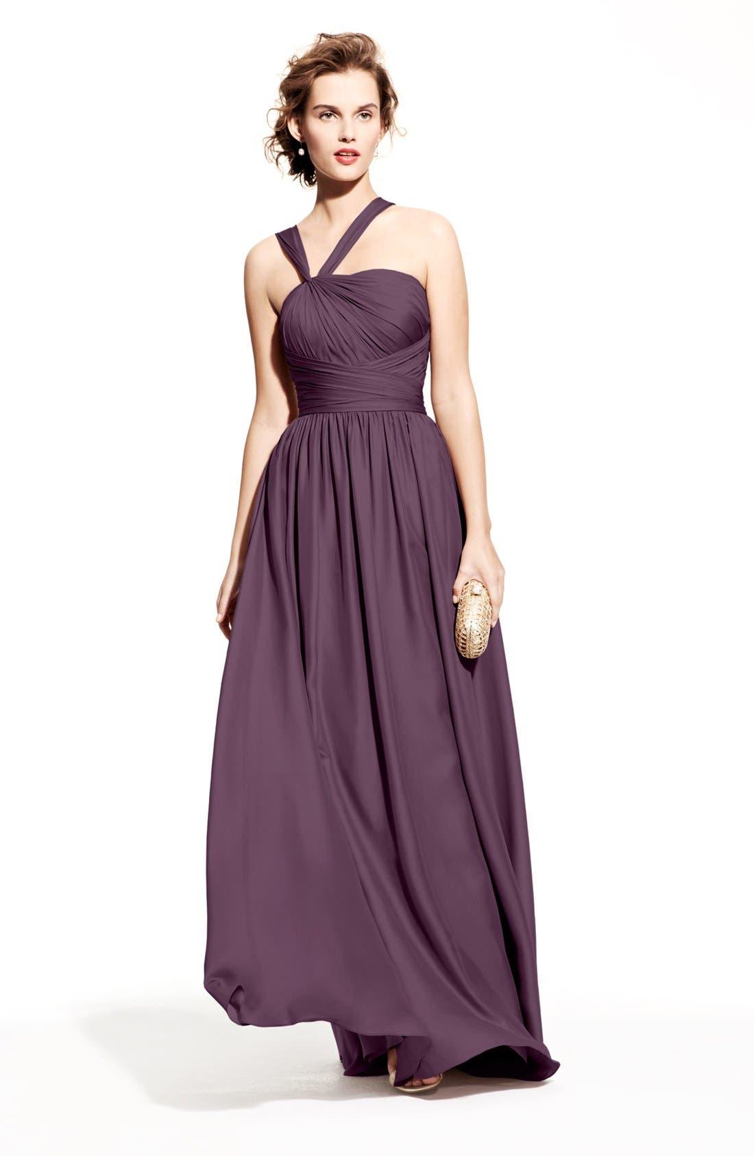 Main Image - ML Monique Lhuillier Bridesmaids Chiffon Dress & Accessories
