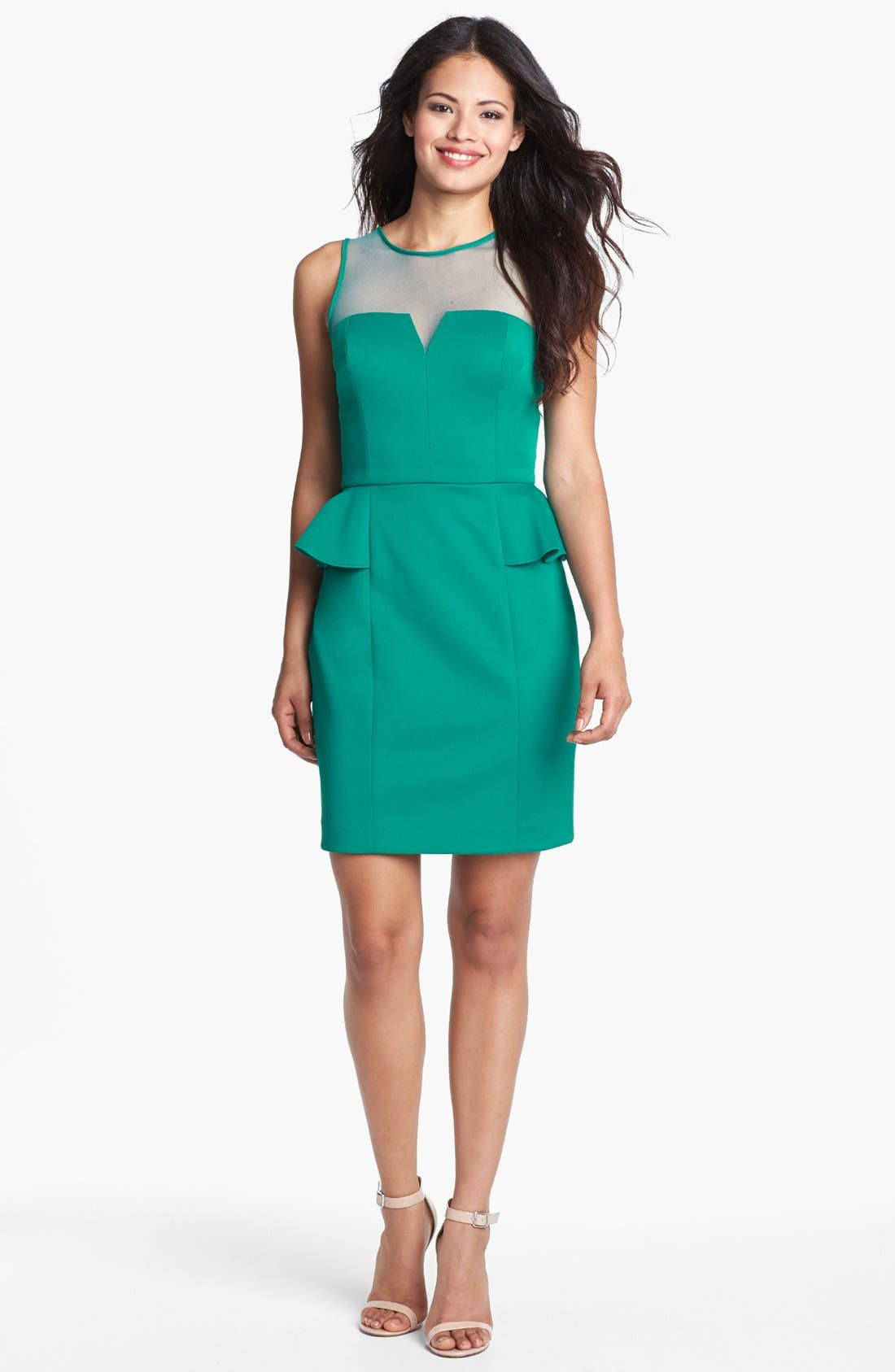 Main Image - Hailey by Adrianna Papell Sleeveless Illusion Peplum Dress (Online Only)
