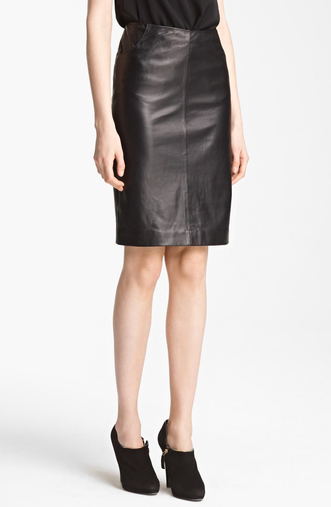 Main Image - Armani Collezioni Nappa Leather Pencil Skirt