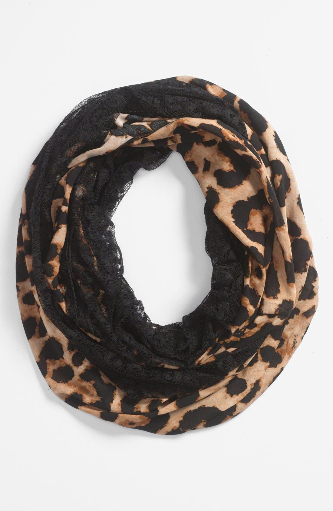Animal Print & Lace Infinity Scarf,                             Main thumbnail 1, color,                             Black/ Camel
