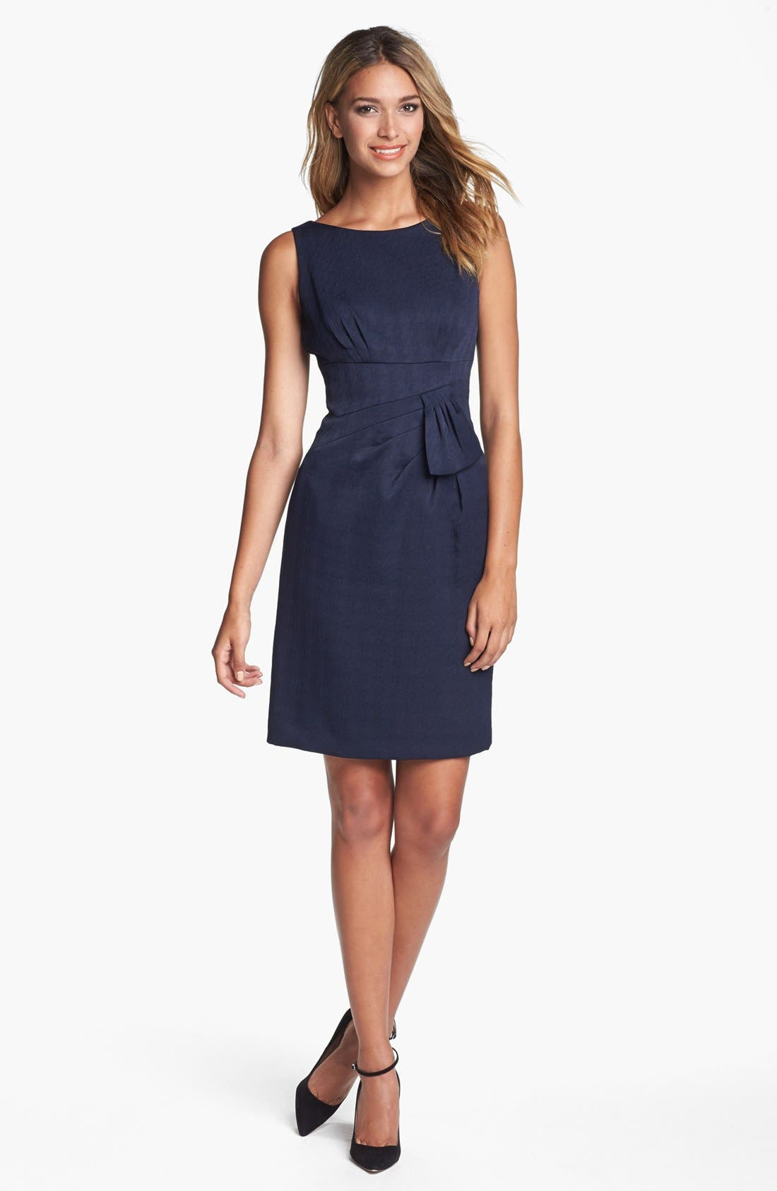 Main Image - Tahari Sleeveless Side Bow Jacquard Sheath Dress