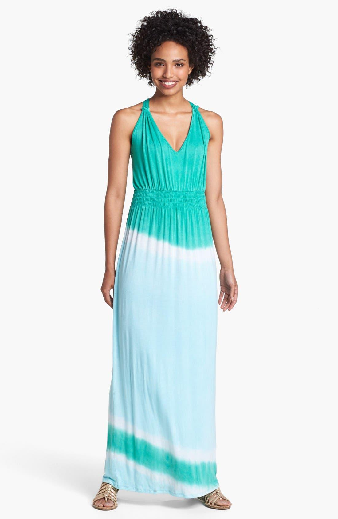 Main Image - Loveappella Colorblock Maxi Dress (Petite)