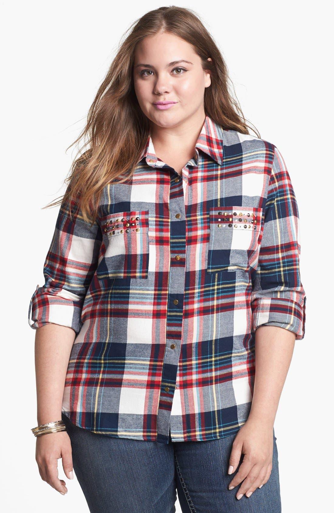 Main Image - Pretty Rebel Studded Plaid Shirt (Juniors Plus)