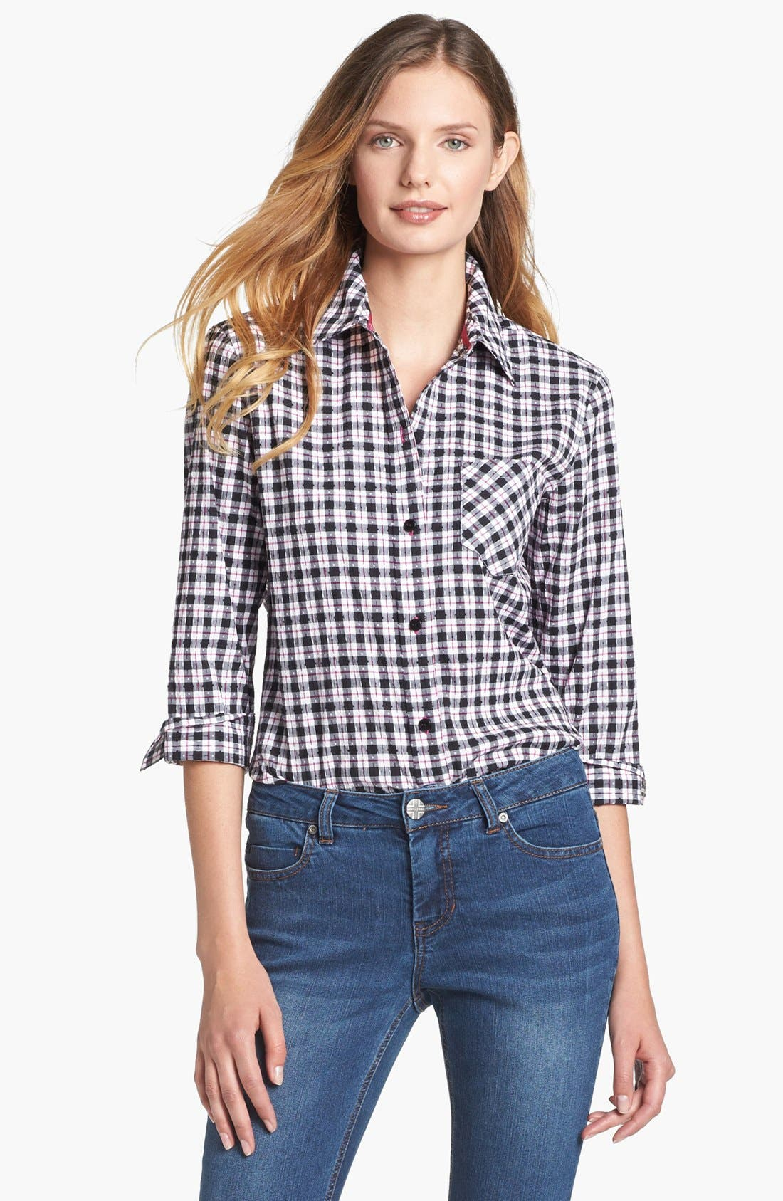 Alternate Image 1 Selected - Foxcroft Check Stretch Cotton Shirt