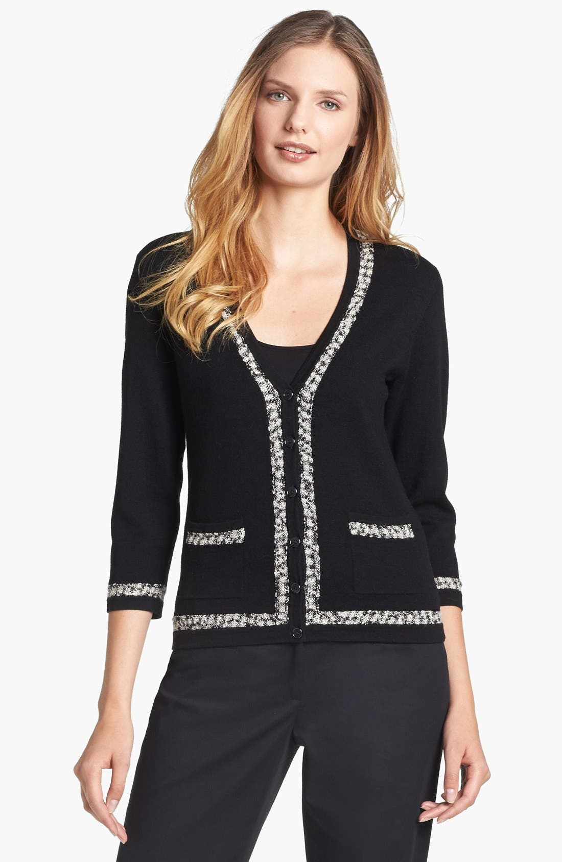 Alternate Image 1 Selected - Classiques Entier® Tweed Trim V-Neck Cardigan