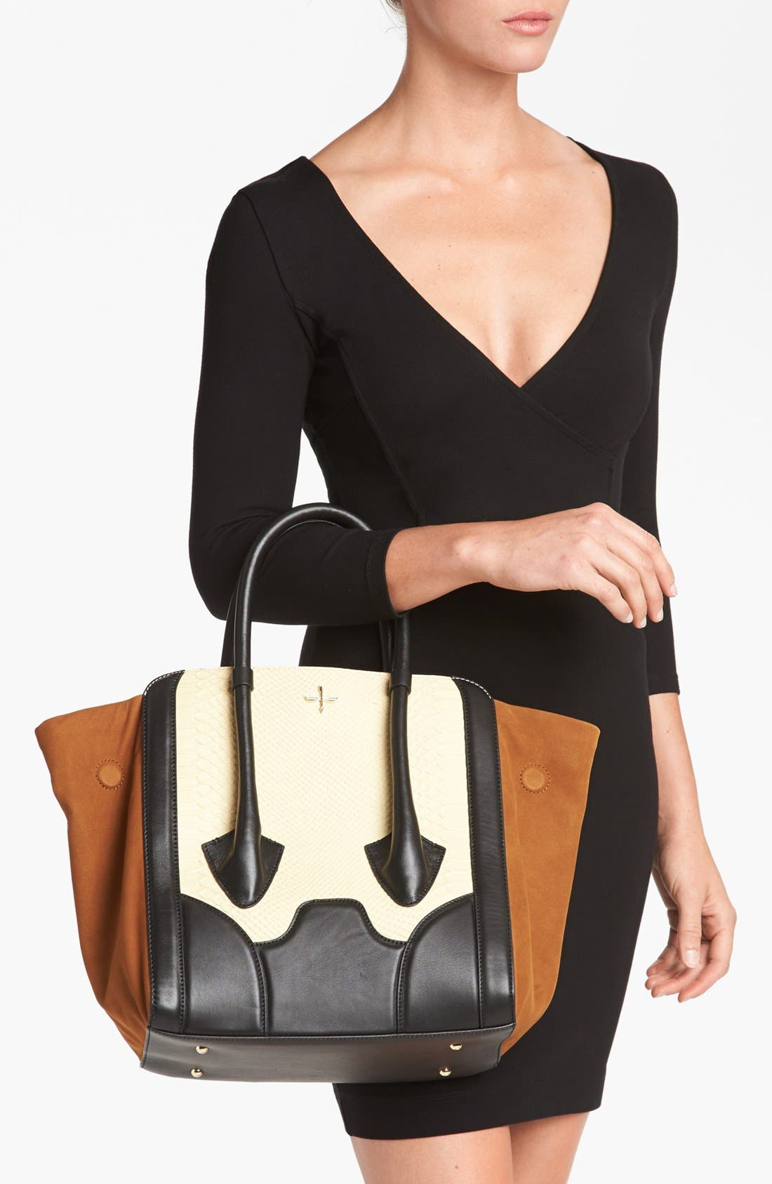 Alternate Image 2  - Pour la Victoire 'Butler - Large' Snake Embossed Leather & Suede Tote