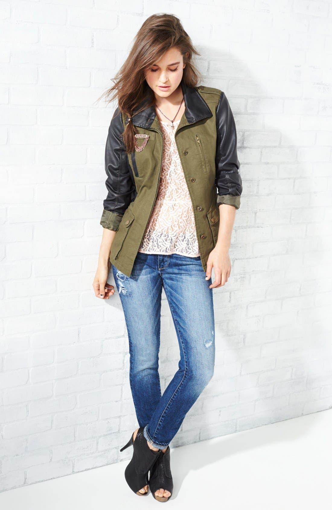 Alternate Image 1 Selected - Bernardo Cotton & Faux Leather Anorak Jacket (Regular & Petite)