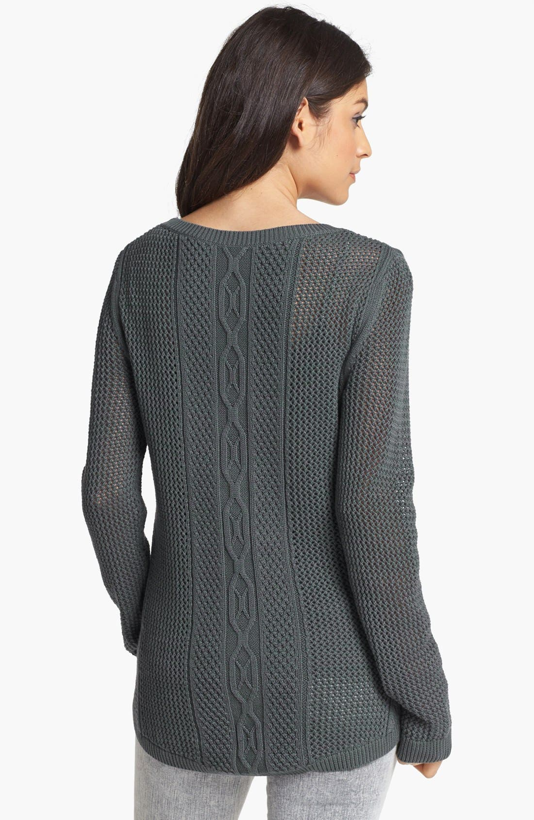 Alternate Image 2  - Rubbish® Cable Knit Sweater (Juniors)