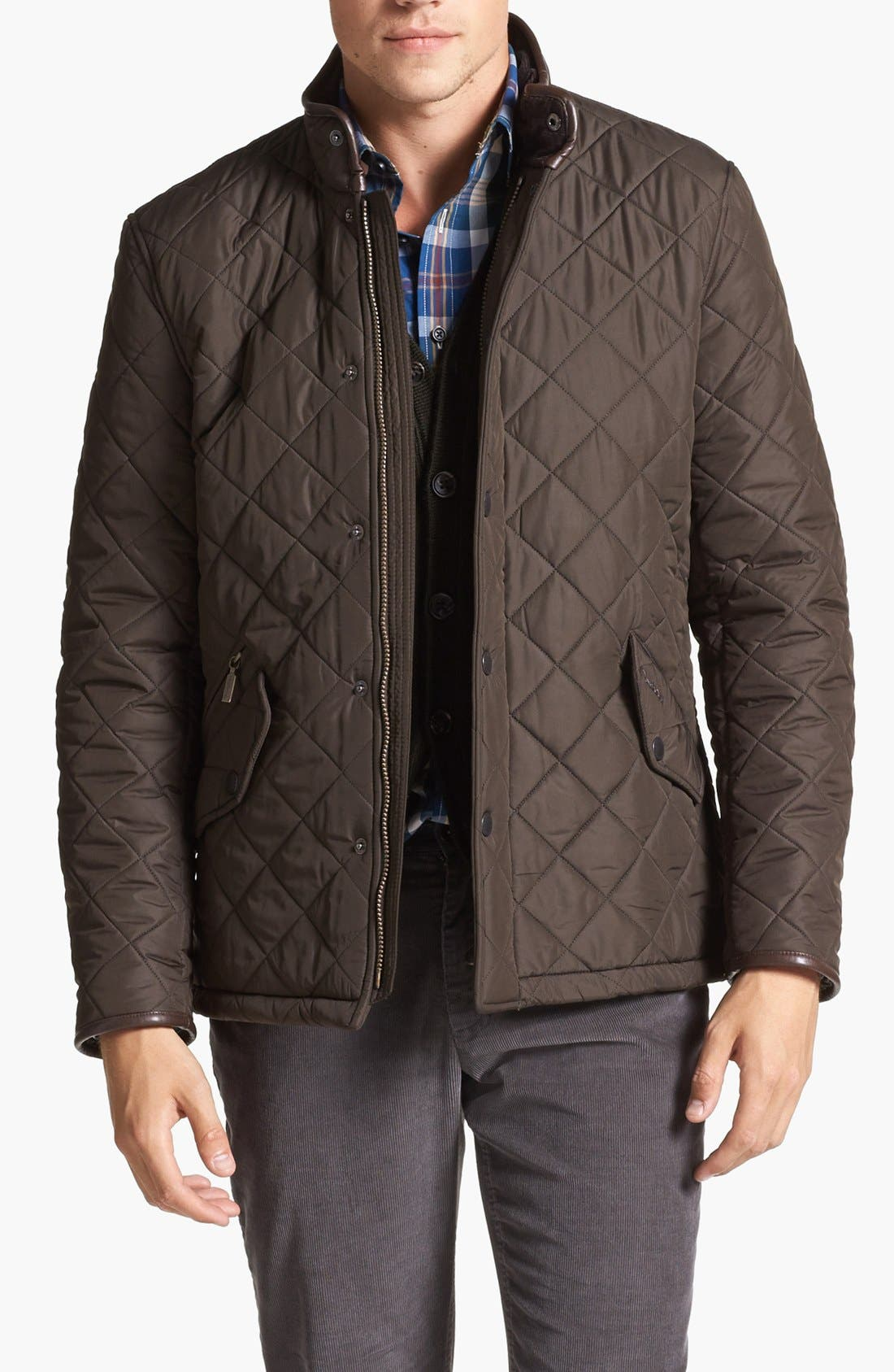 'Powell' Regular Fit Quilted Jacket,                         Main,                         color, Olive