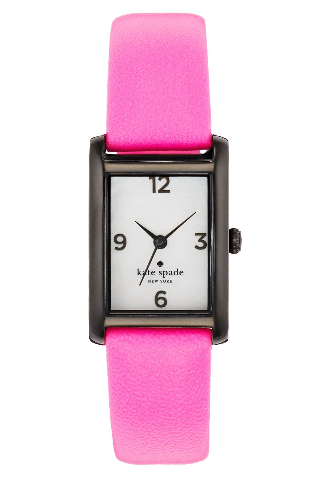 Alternate Image 1 Selected - kate spade new york 'cooper' leather strap watch, 21mm x 32mm