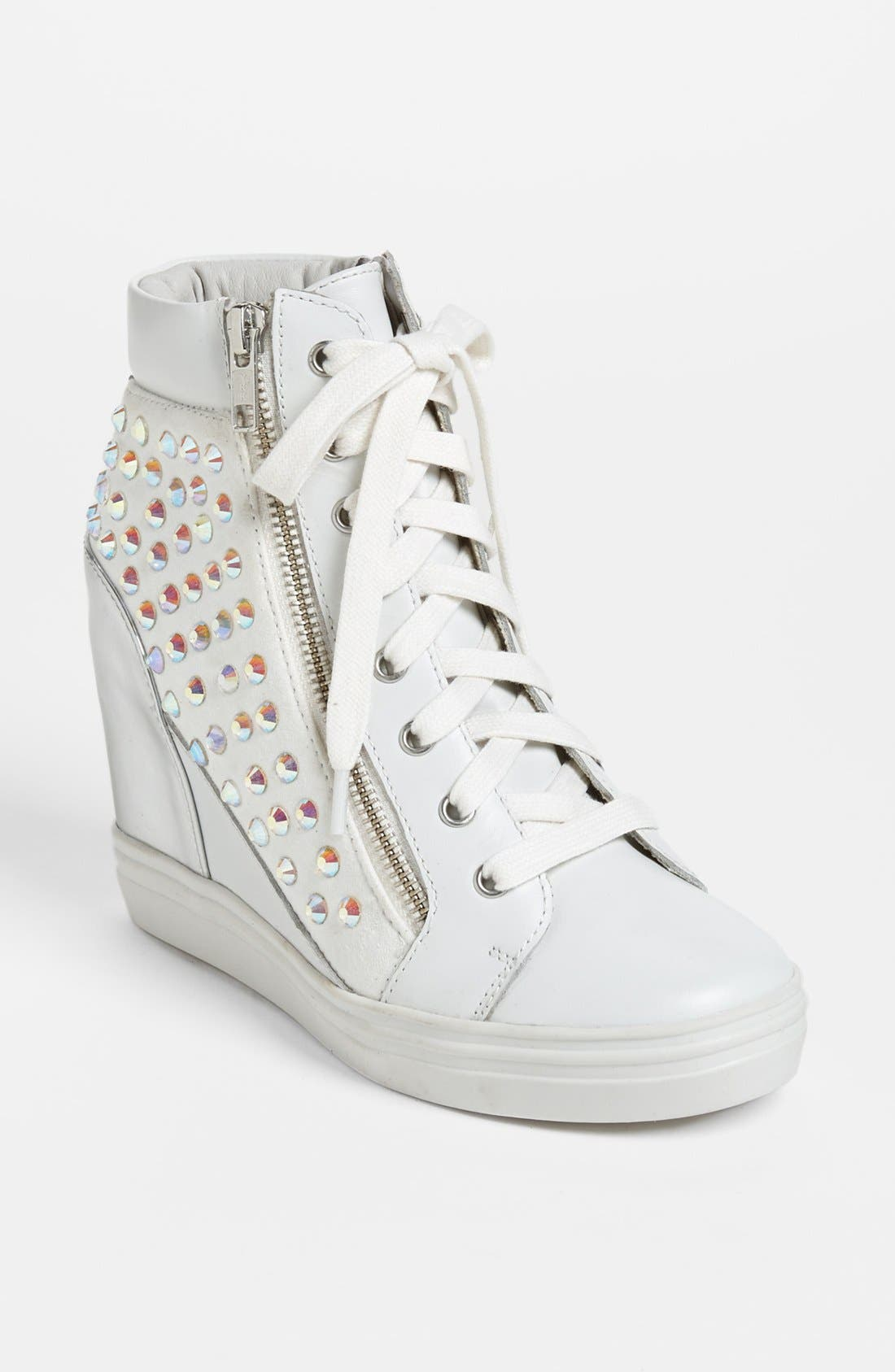 'Zipps' Wedge Sneaker,                         Main,                         color, White Multi