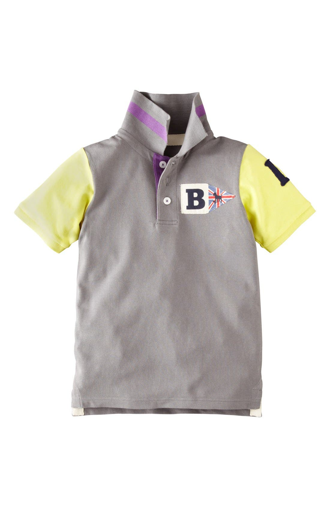 Alternate Image 1 Selected - Mini Boden Colorblock Polo Shirt (Toddler Boys, Little Boys & Big Boys)