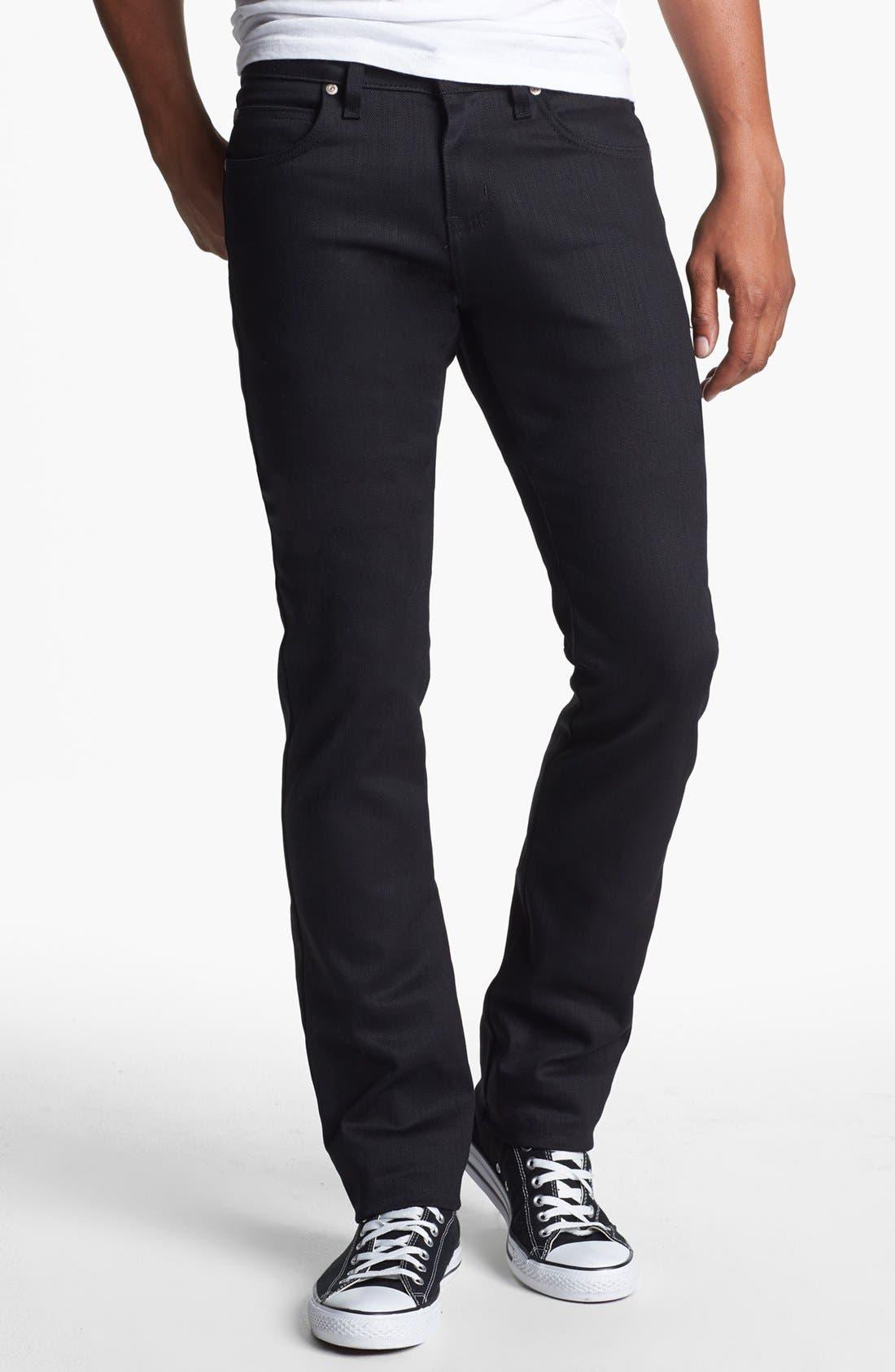 Alternate Image 1 Selected - Naked & Famous Denim Skinny Guy Skinny Fit Jeans (Black Power Stretch)