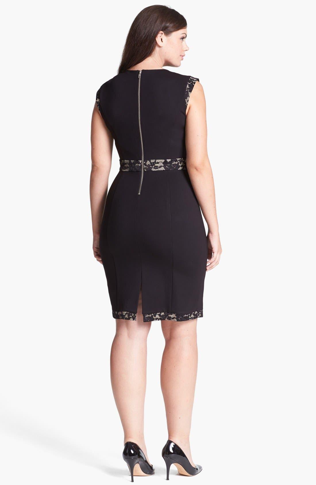 Alternate Image 2  - ABS by Allen Schwartz Lace Block Sheath Dress (Plus Size)