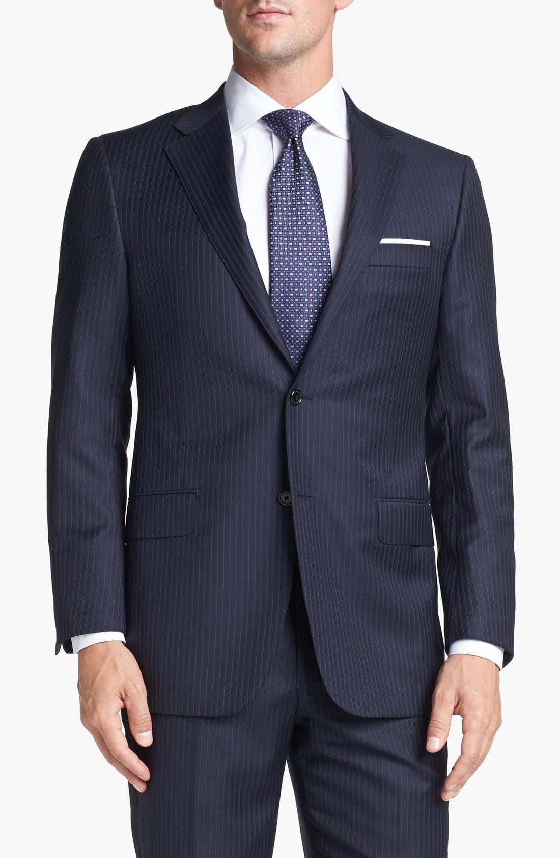Alternate Image 4  - Hickey Freeman 'B Series' Classic Fit Stripe Suit