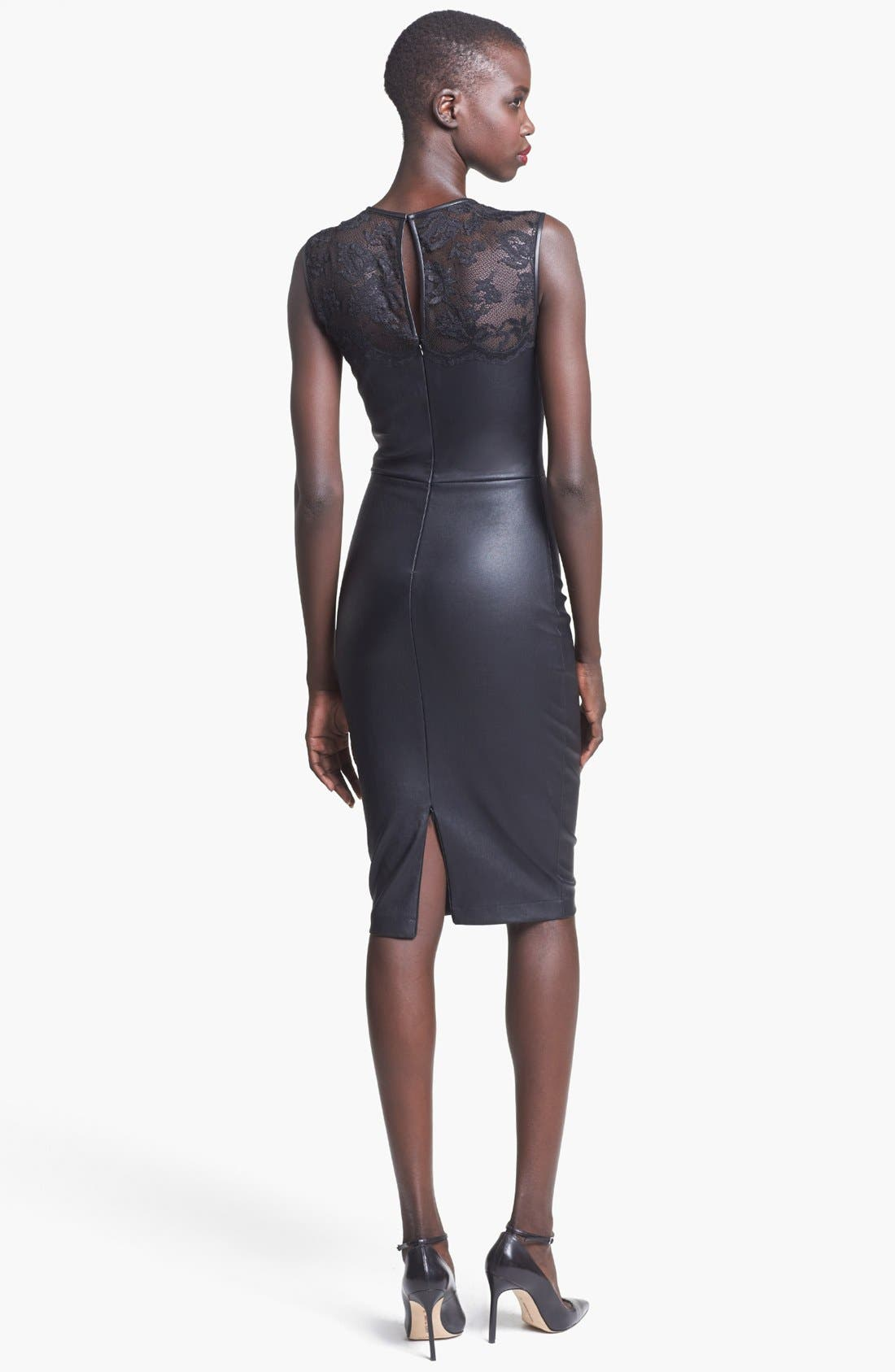 Alternate Image 2  - Robert Rodriguez Lace Detail Stretch Leather Dress