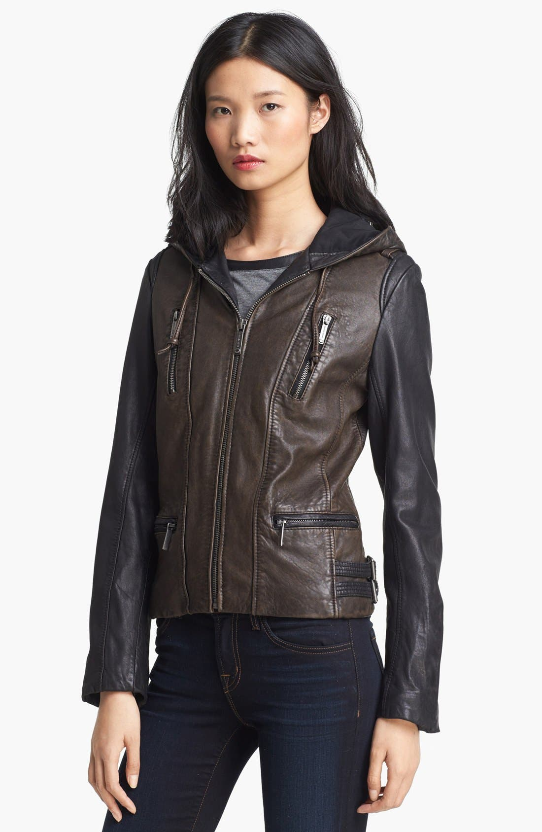 Alternate Image 1 Selected - MICHAEL Michael Kors Hooded Colorblock Leather Jacket (Nordstrom Exclusive)