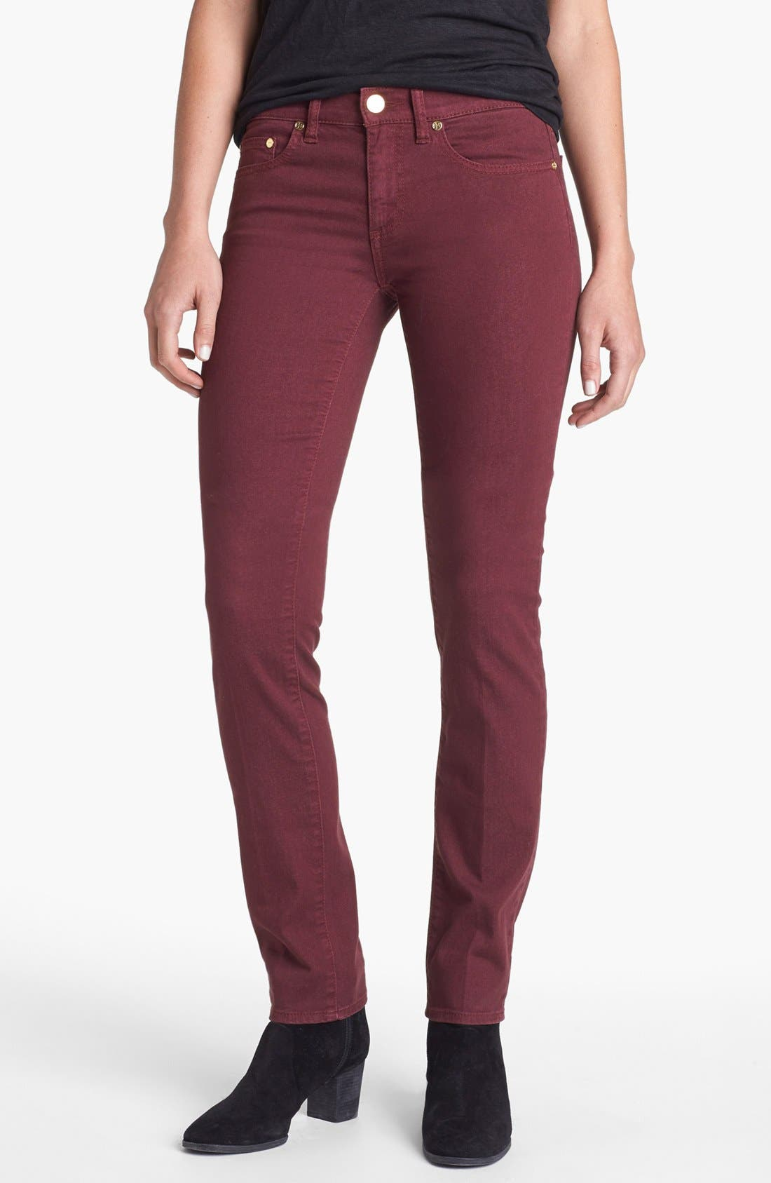 Main Image - Tory Burch 'Ivy' Colored Super Skinny Jeans (Dark Plum)