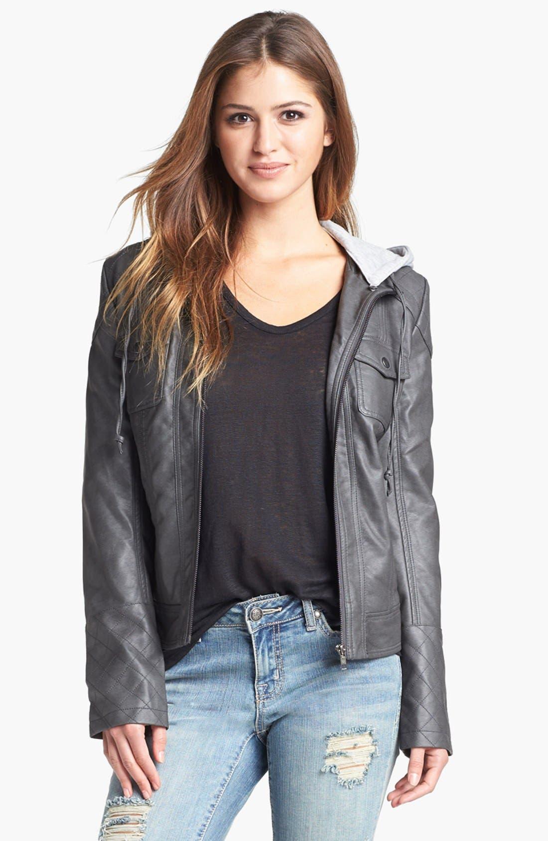 Alternate Image 2  - Jessica Simpson 'Heathcliff' Hooded Faux Leather Jacket