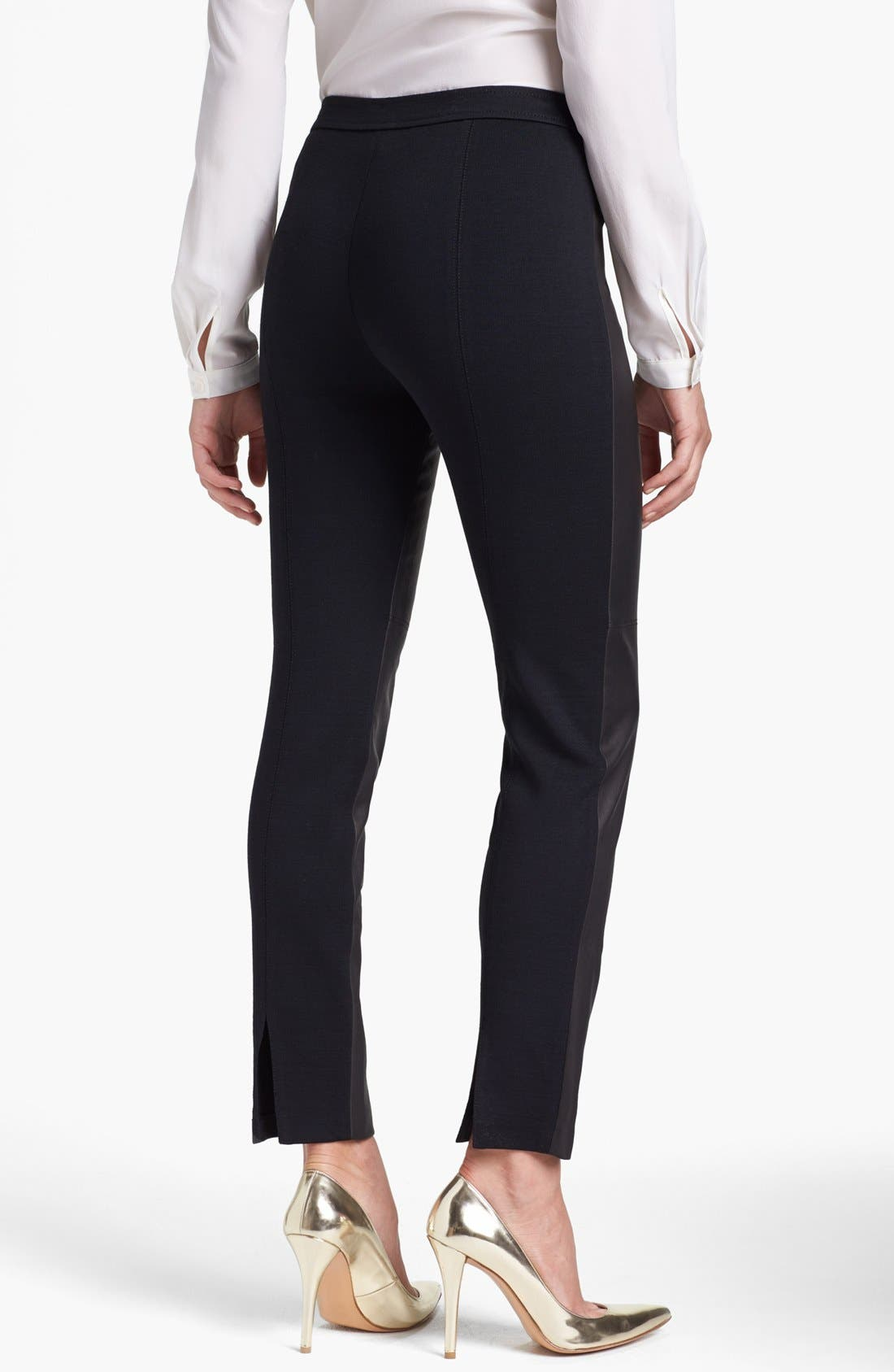 Alternate Image 2  - St. John Collection 'Alexa' Stretch Leather & Milano Knit Pants