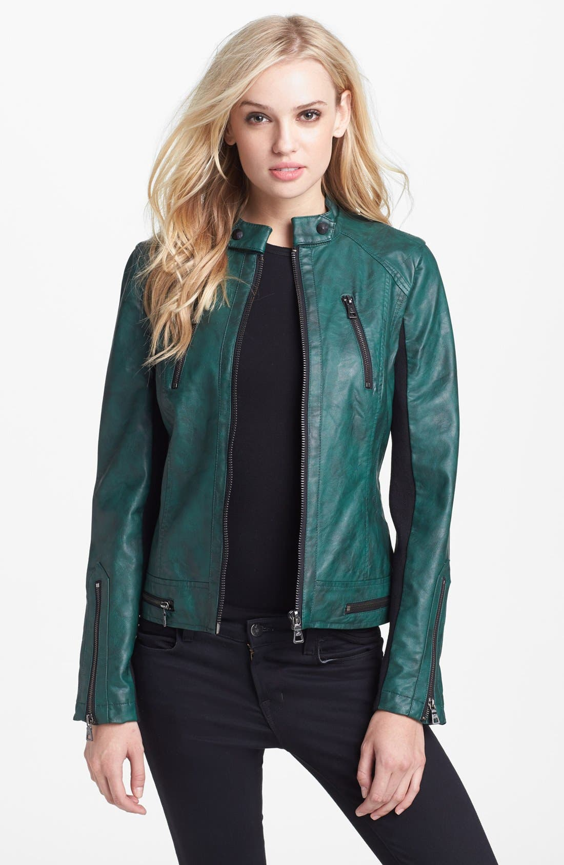 Alternate Image 1 Selected - Sam Edelman Faux Leather Moto Jacket (Online Only)