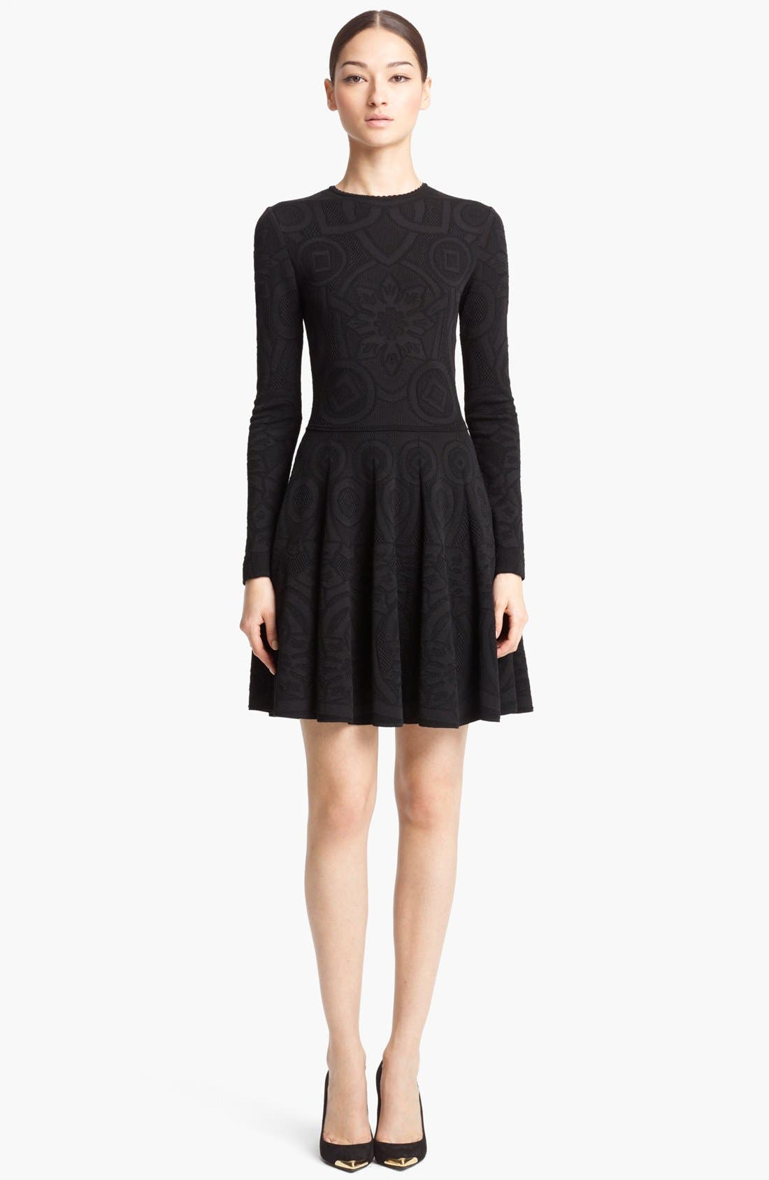 Main Image - Alexander McQueen Full Skirt Jacquard Knit Dress