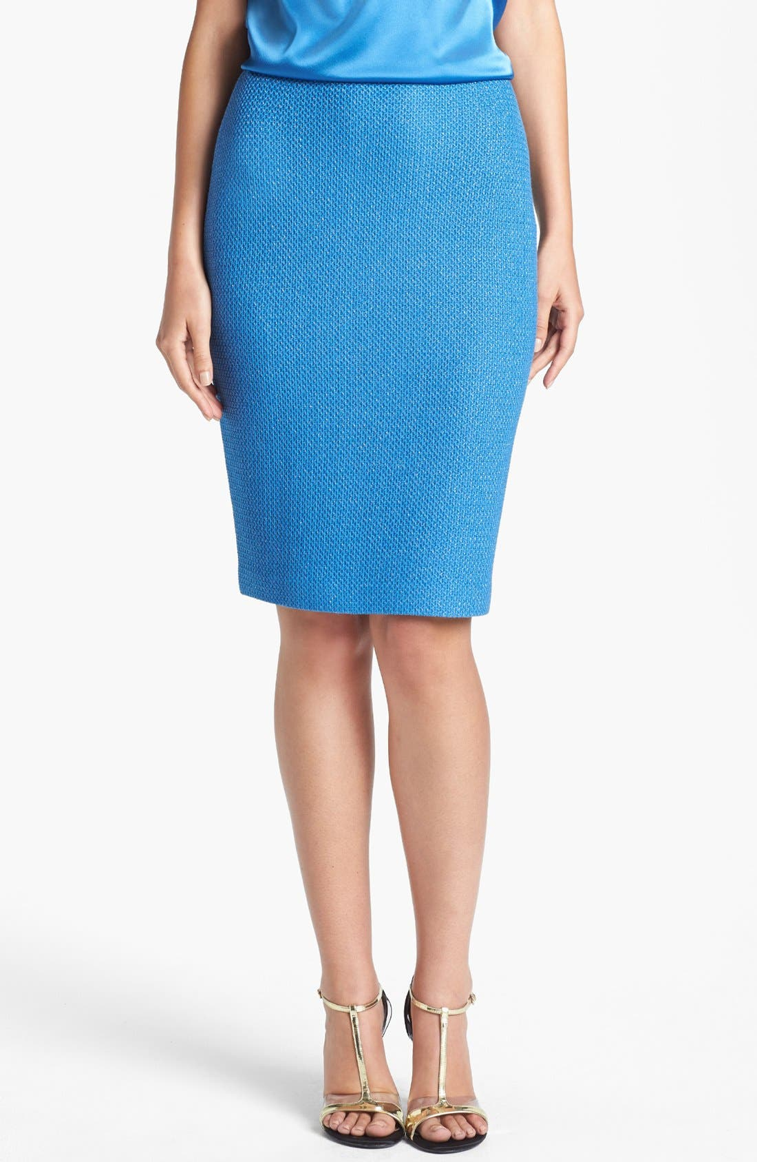 Main Image - St. John Collection Metallic Lattice Knit Pencil Skirt