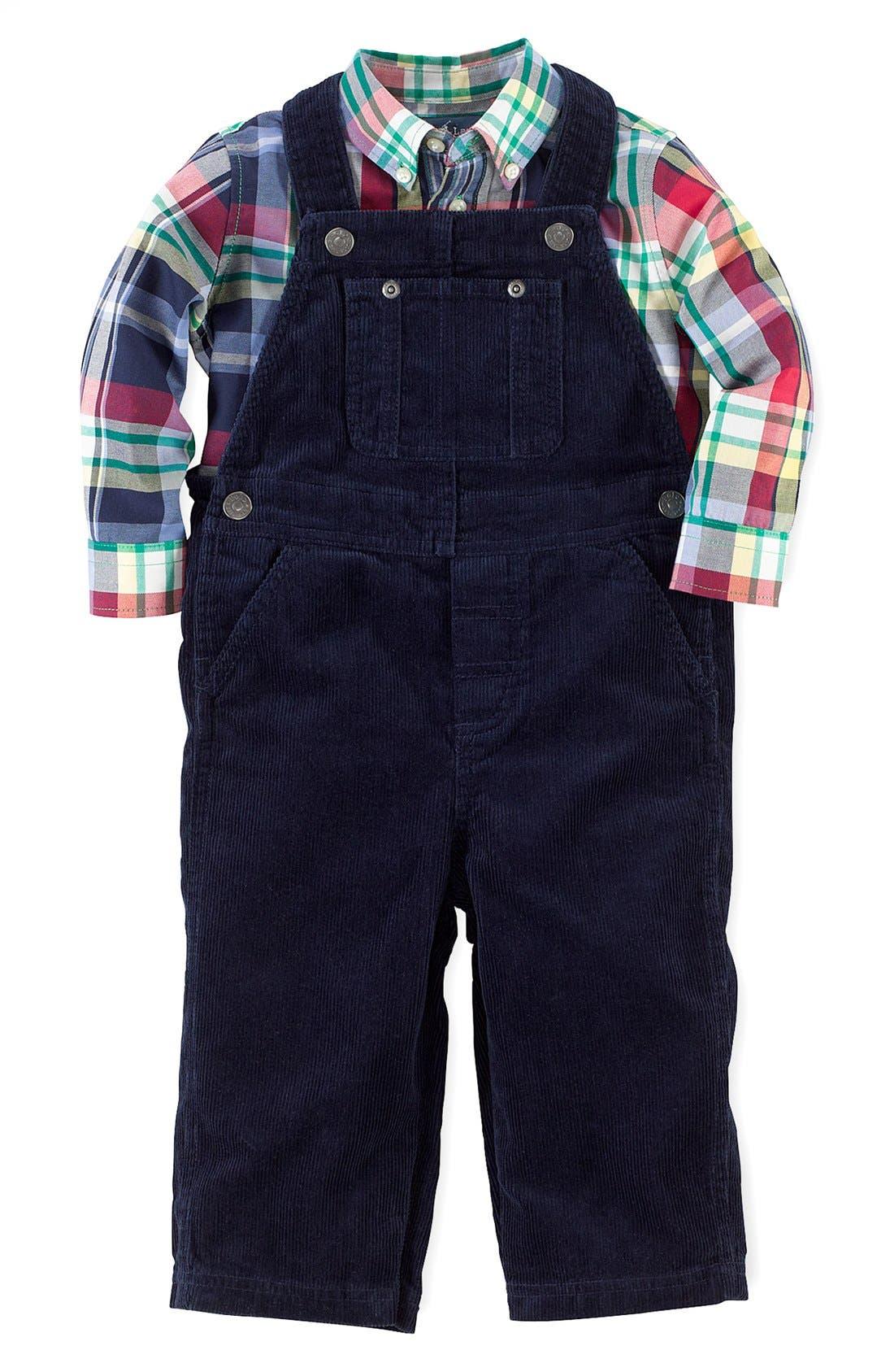 Alternate Image 1 Selected - Ralph Lauren Shirt & Overalls (Baby Boys)