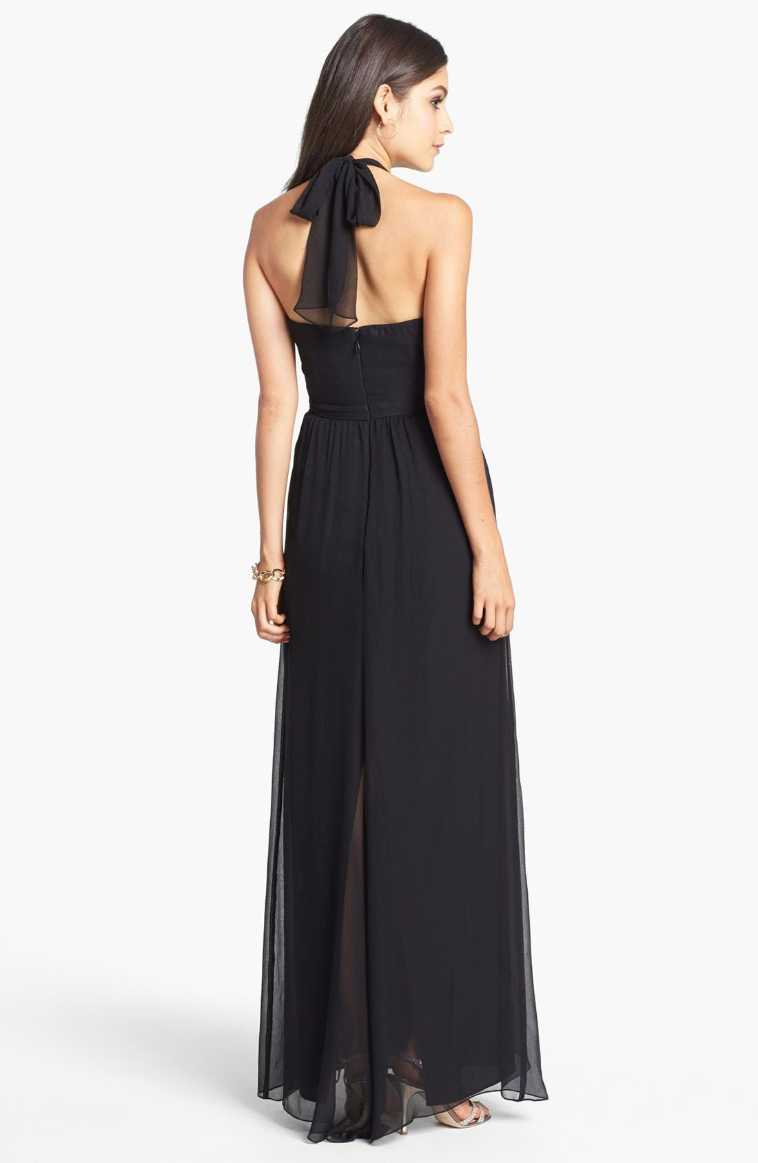 Alternate Image 2  - BCBGMAXAZRIA Seamed Silk Halter Gown