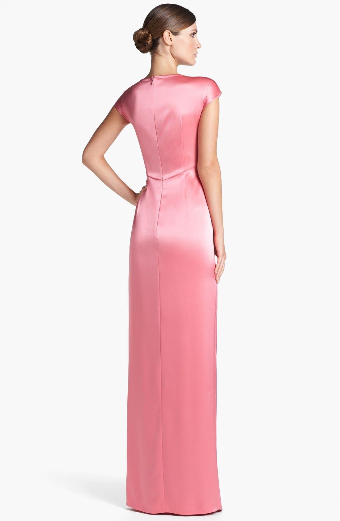 Alternate Image 2  - St. John Collection Draped Liquid Satin Gown