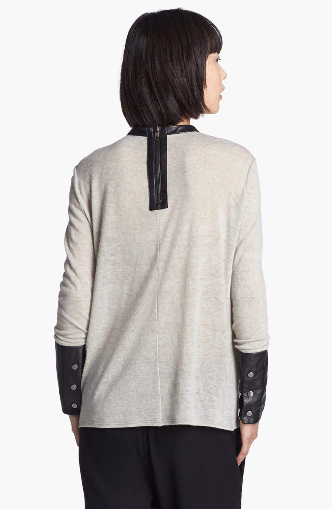 Alternate Image 3  - Helmut Lang Leather Trim Knit Top