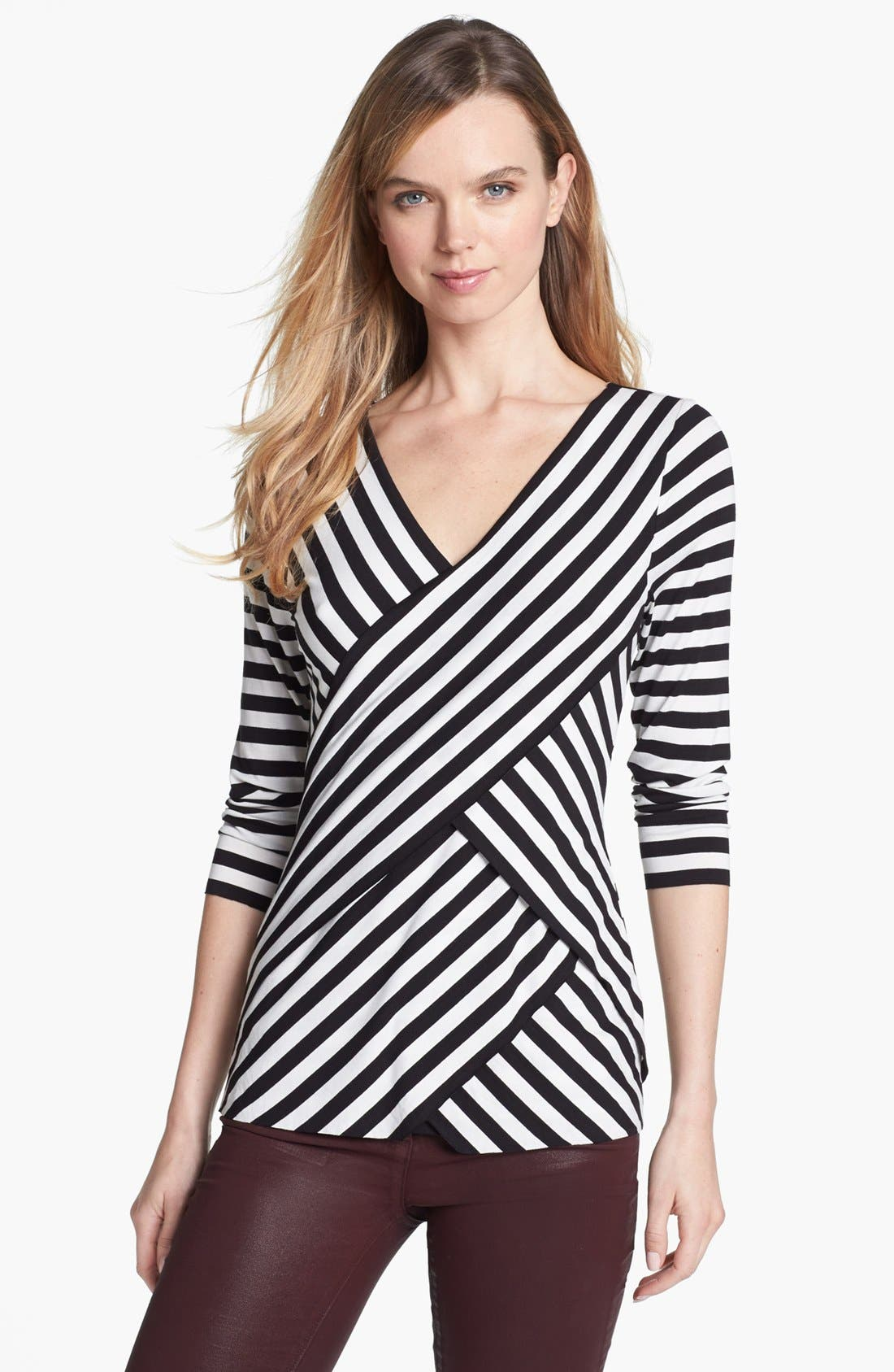 Alternate Image 1 Selected - Vince Camuto Tiered Stripe Top (Regular & Petite)