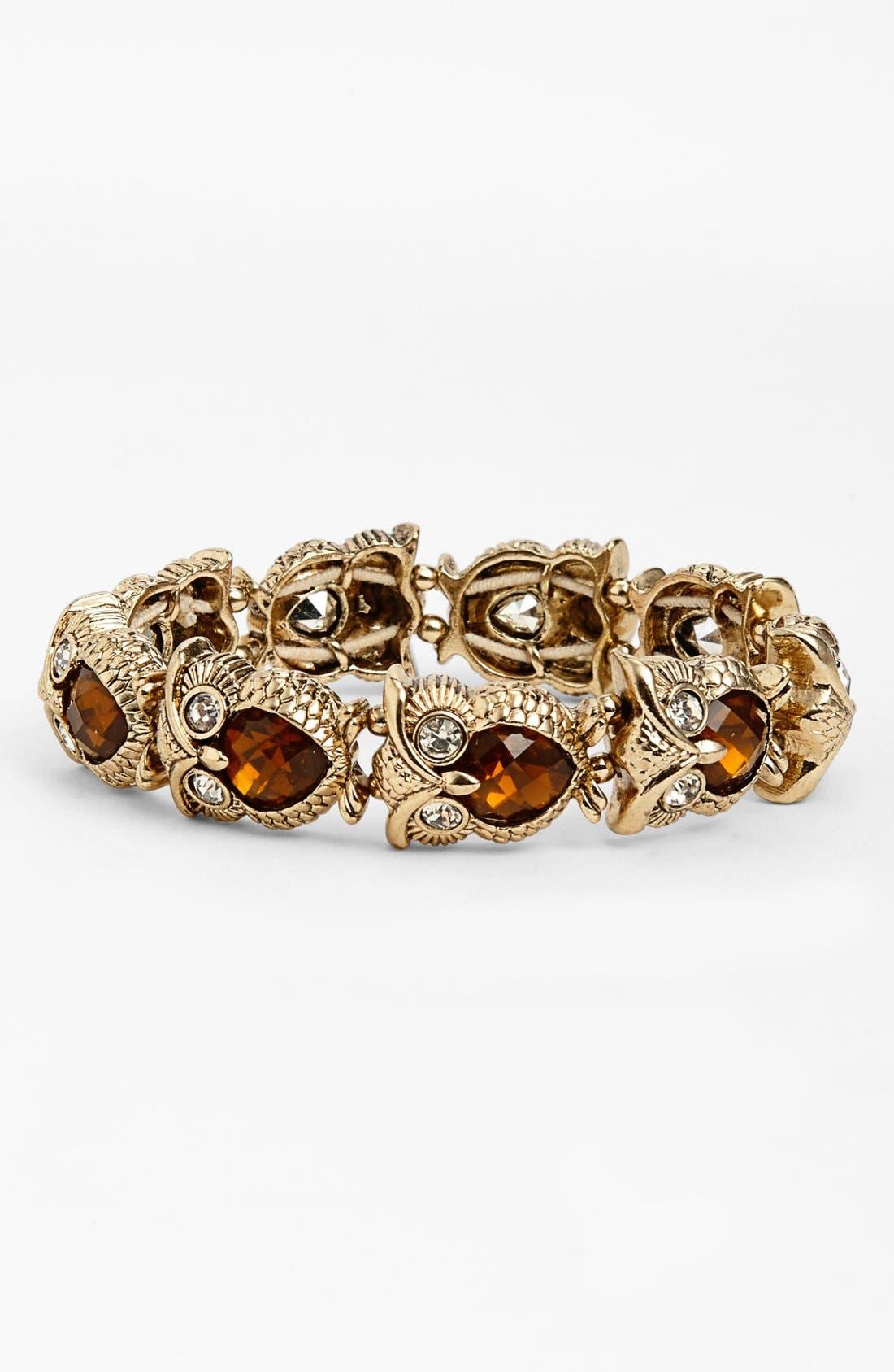 Alternate Image 1 Selected - Anne Klein Owl Stretch Bracelet