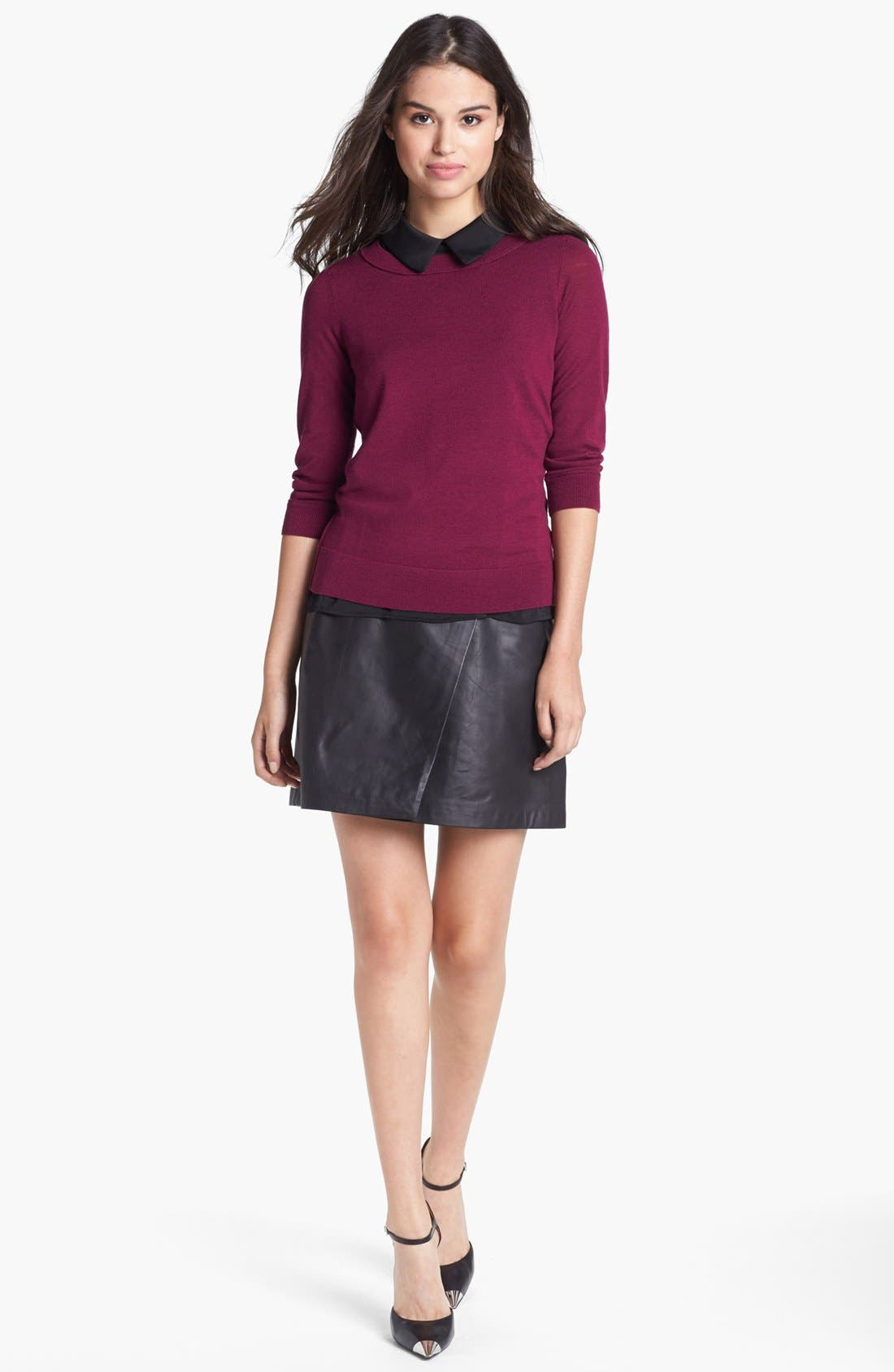 Alternate Image 6  - Halogen® Colorblock Leather Faux Wrap Skirt