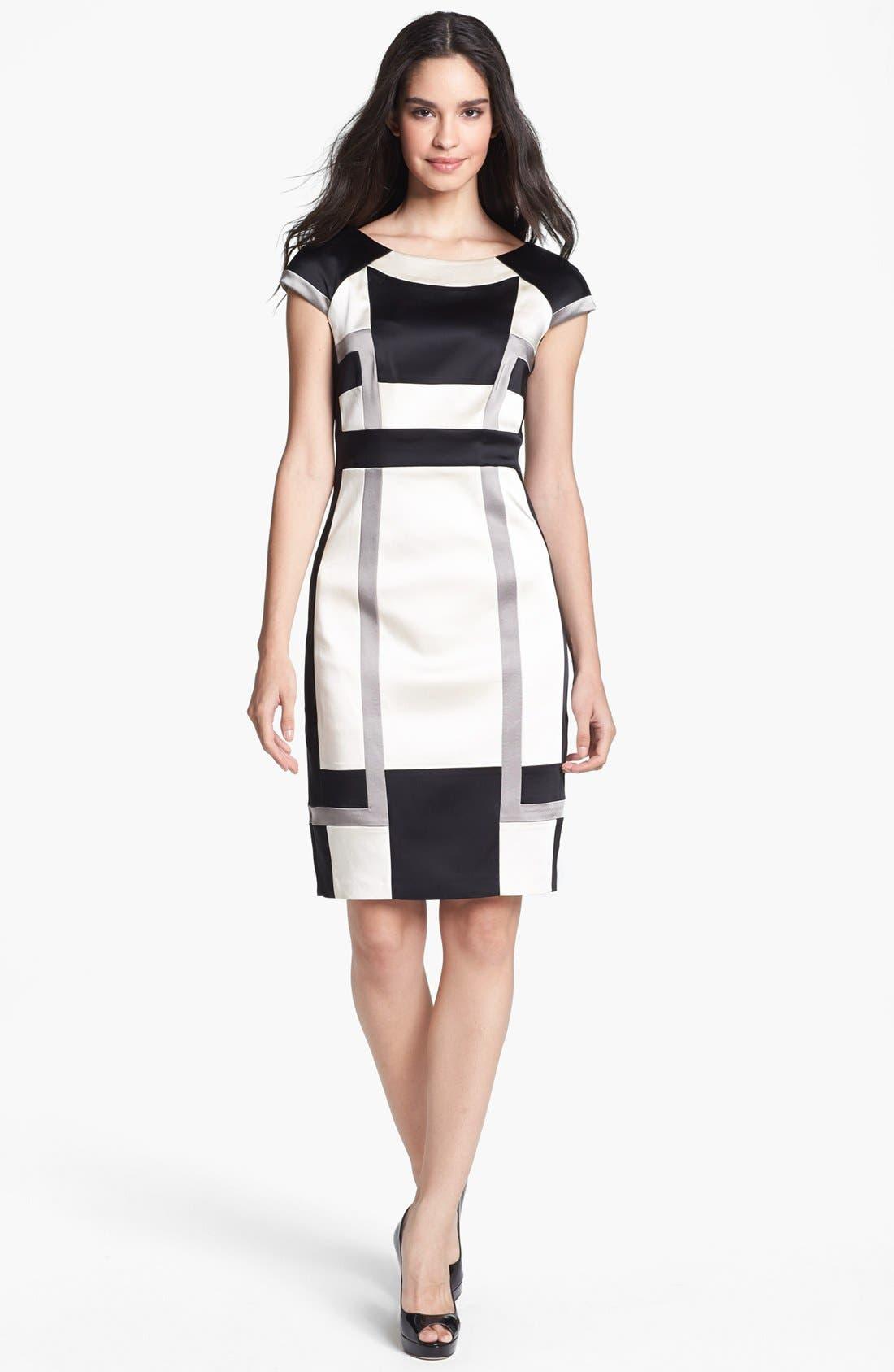 Main Image - JAX Colorblock Cap Sleeve Sheath Dress