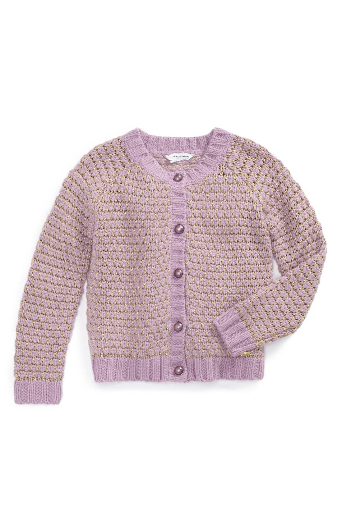 Alternate Image 1 Selected - LITTLE MARC JACOBS Cardigan (Toddler, Little Girls & Big Girls)