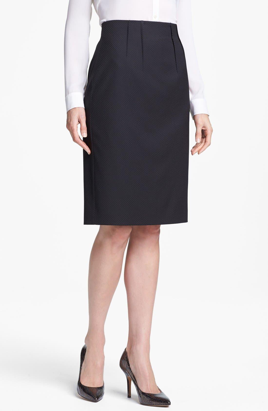 Main Image - Halogen® Pleat Jacquard Suit Skirt