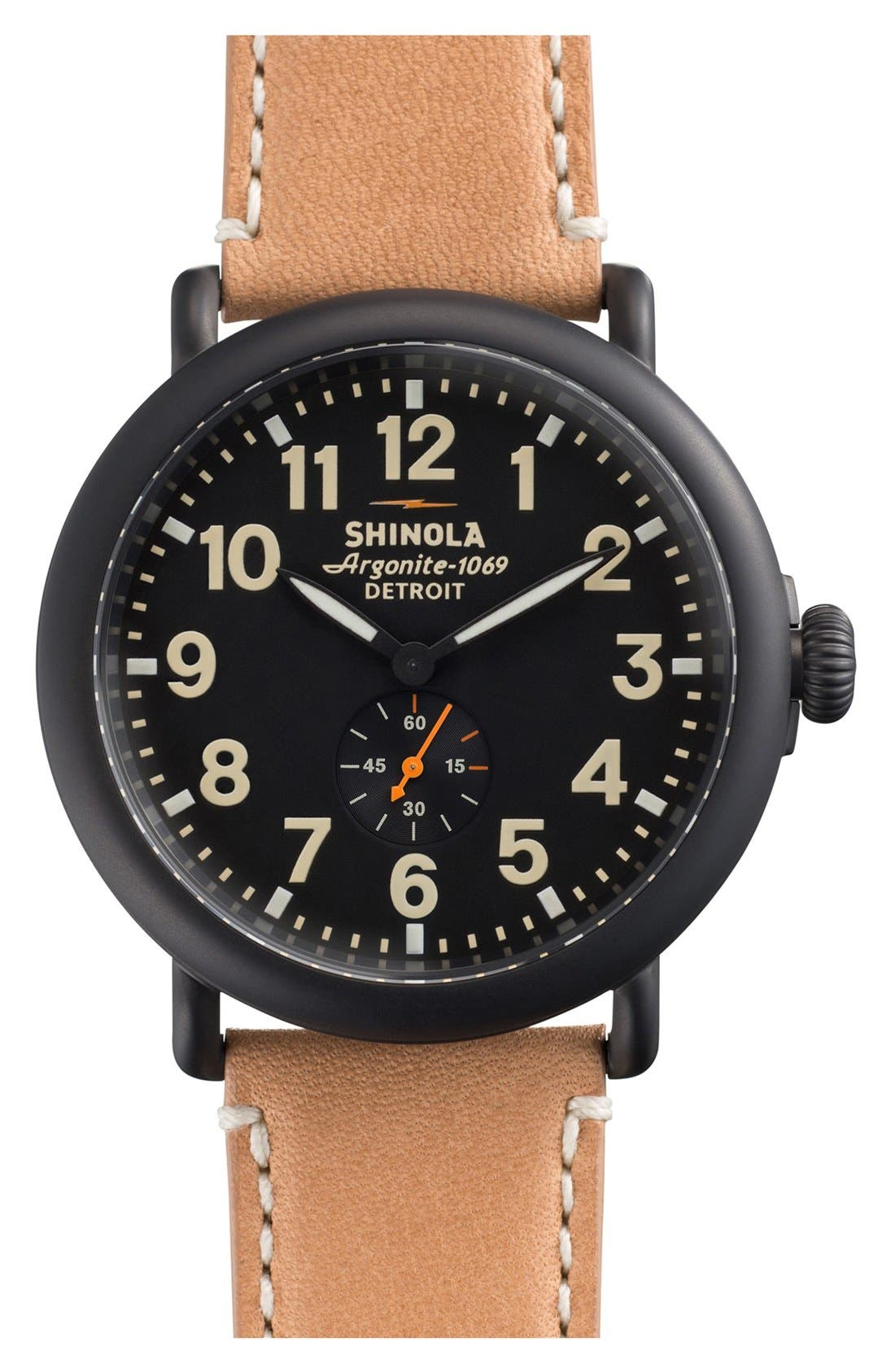 Alternate Image 1 Selected - Shinola 'The Runwell' Leather Strap Watch, 47mm