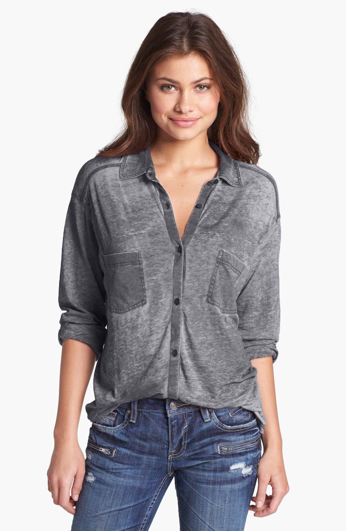 Knit Button Front Shirt,                         Main,                         color, Black