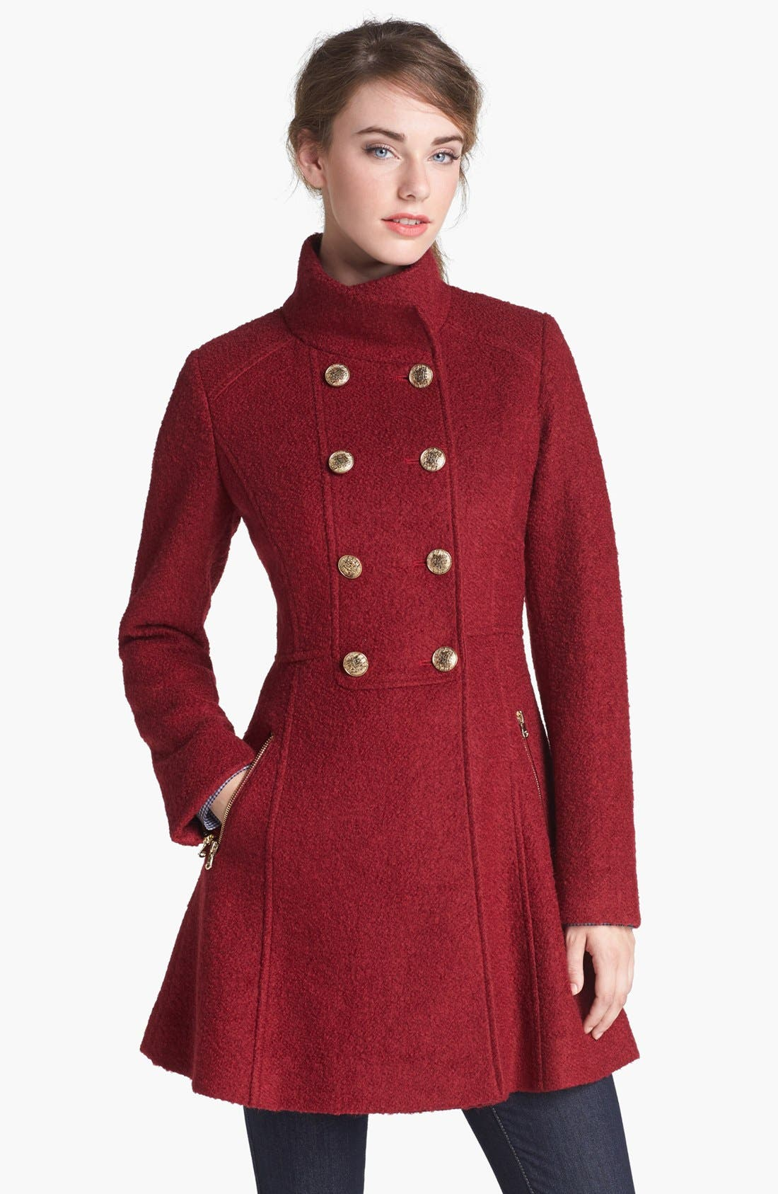 Main Image - GUESS Fit & Flare Bouclé Military Coat (Online Only)