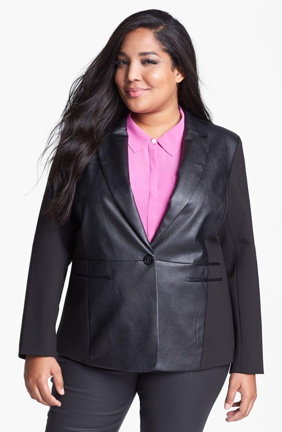 Alternate Image 1 Selected - MICHAEL Michael Kors Faux Leather & Ponte Knit Blazer (Plus Size)